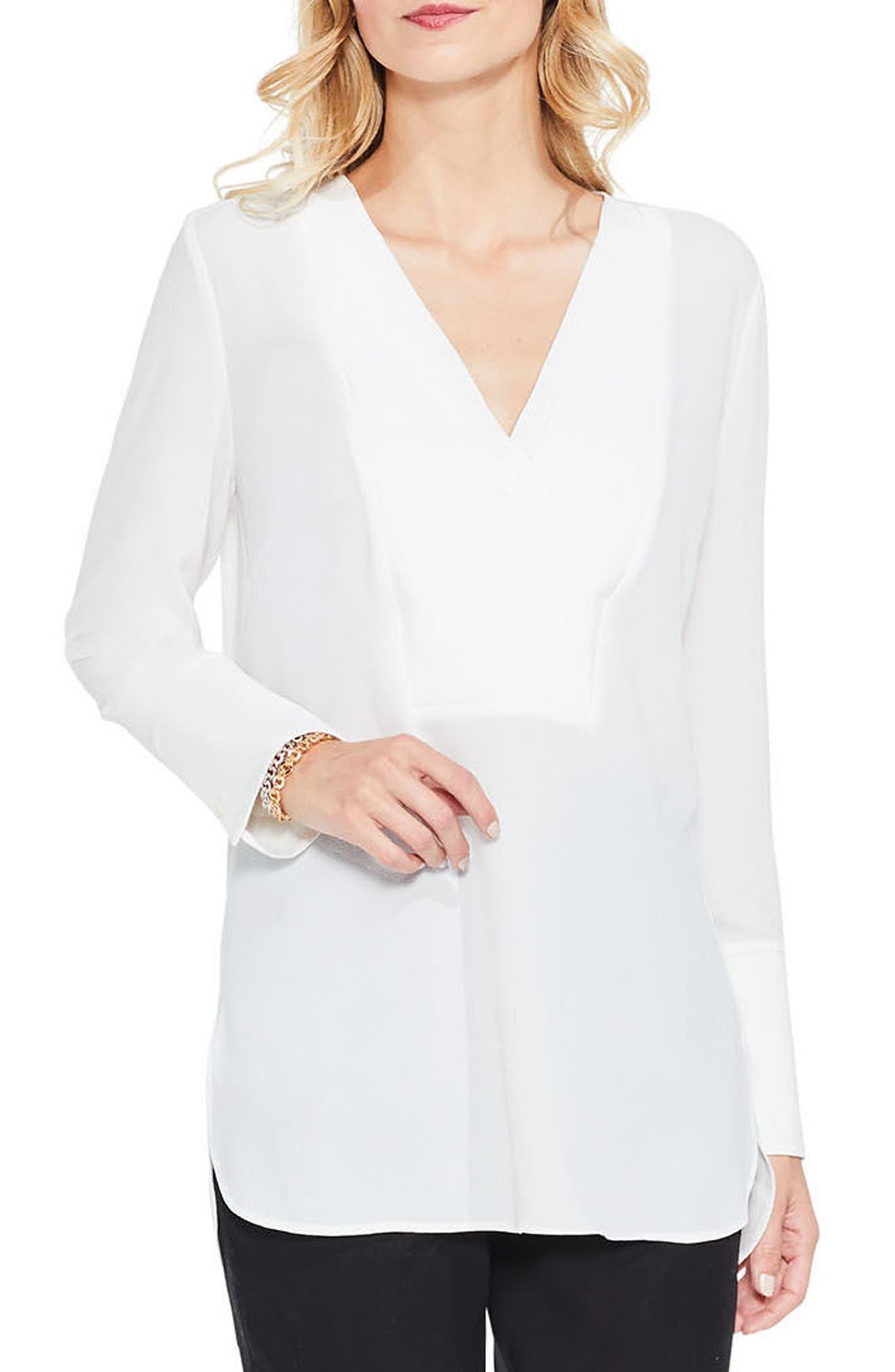 Double V-Neck Placket Blouse,                         Main,                         color, Antique White