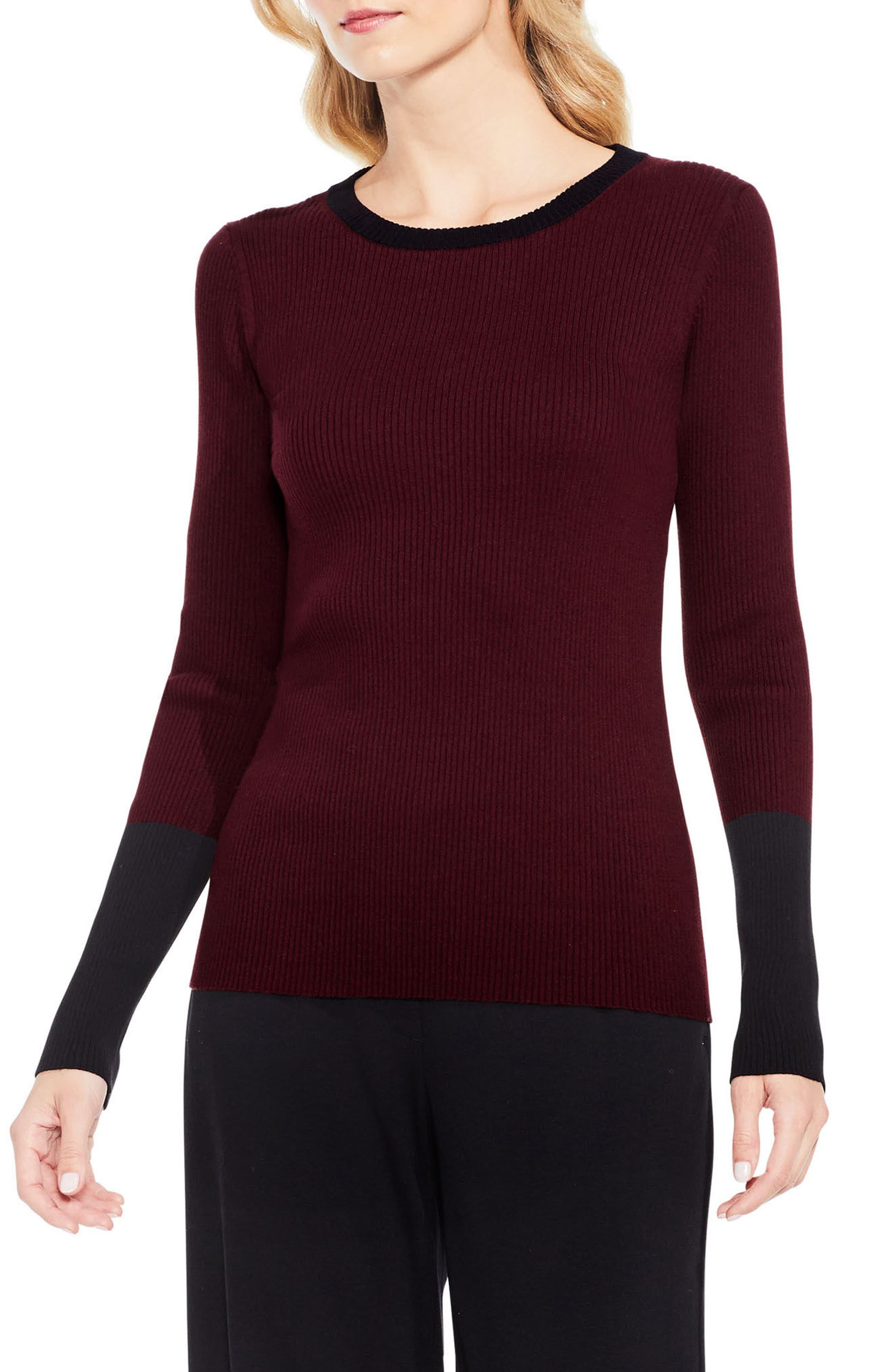 Colorblock Ribbed Sweater,                         Main,                         color, Deep Claret