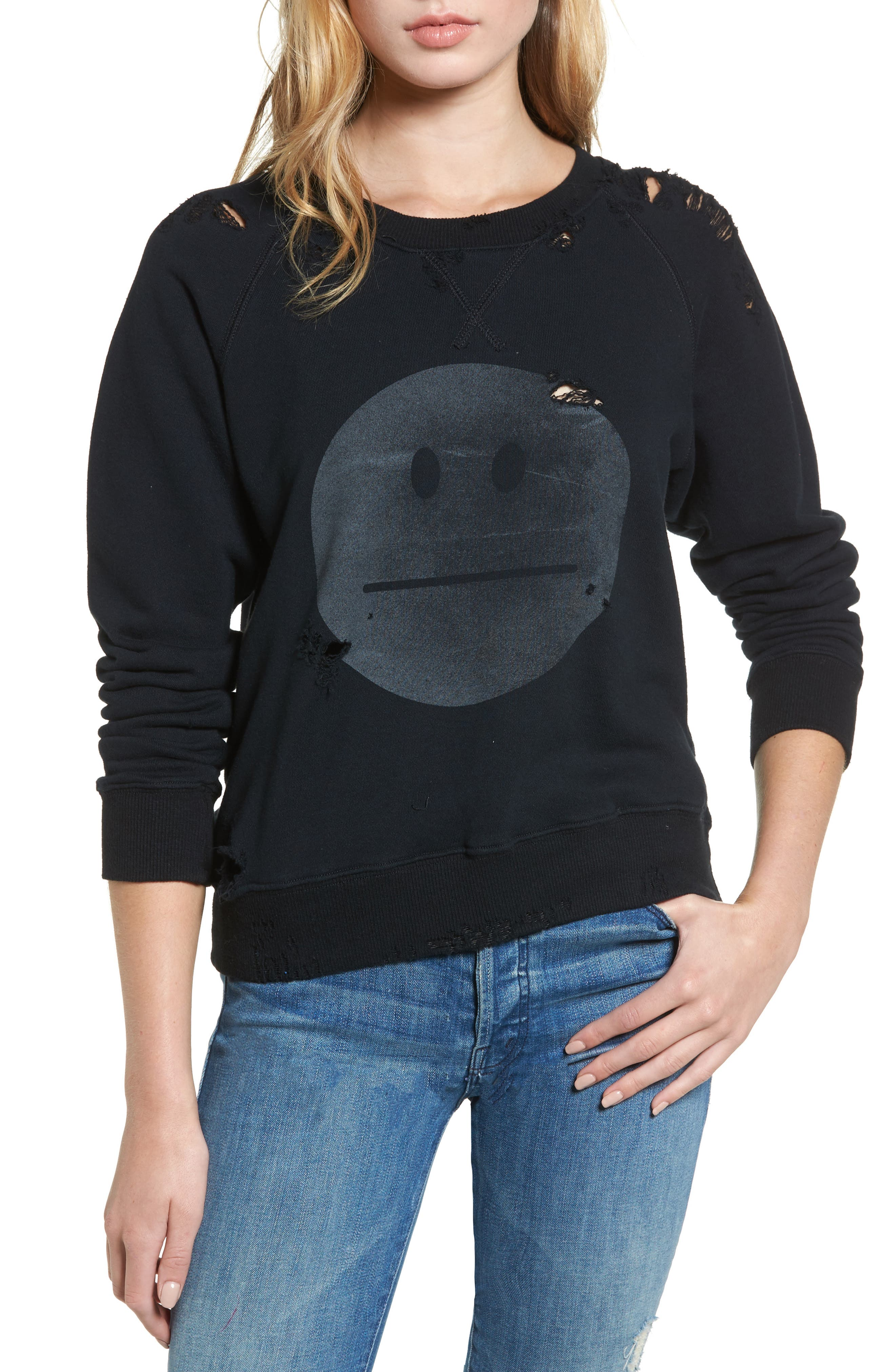MOTHER 'The Square' Destroyed Graphic Pullover Sweatshirt