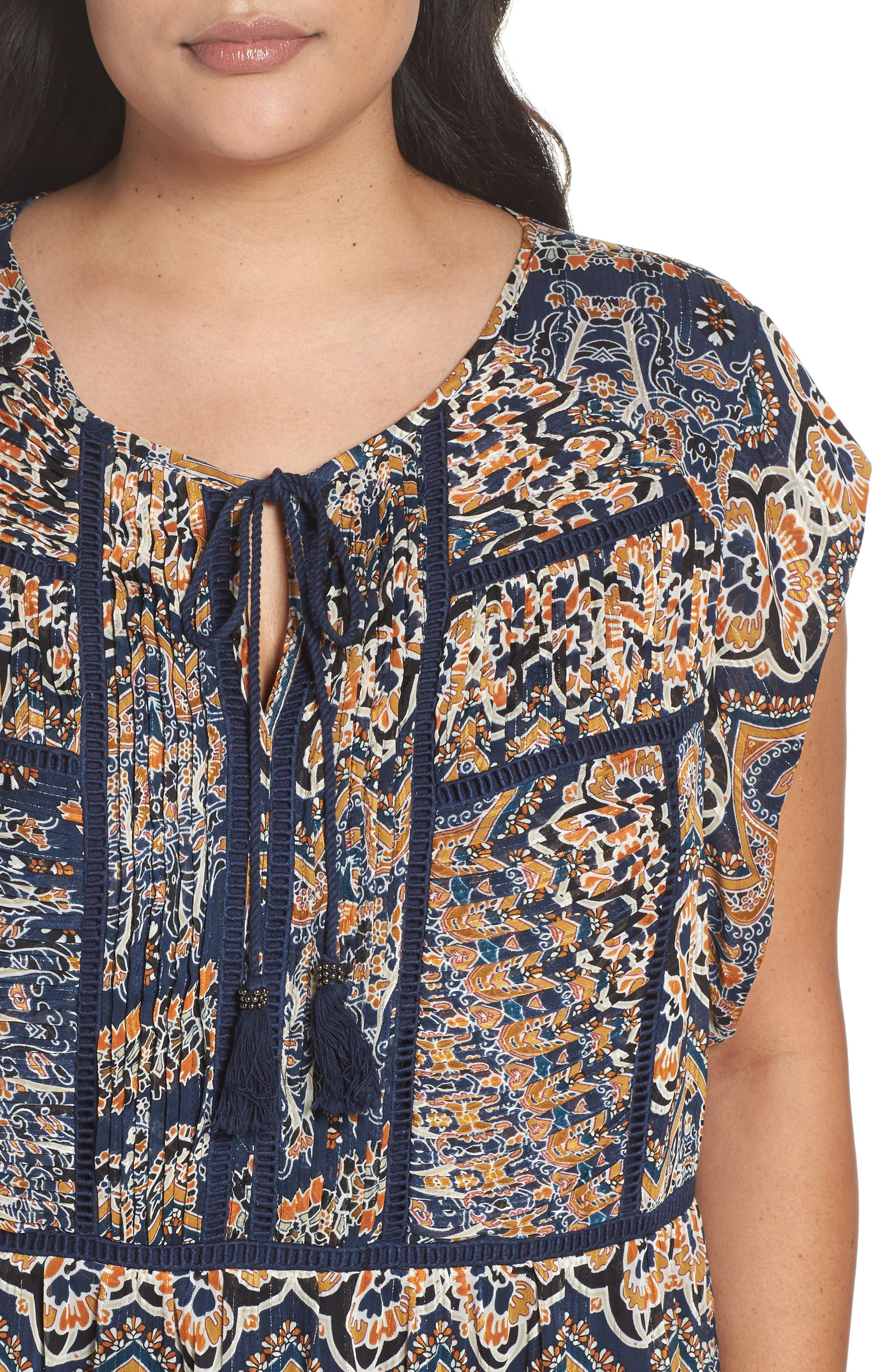 Print Pleated Top,                             Alternate thumbnail 4, color,                             Blue
