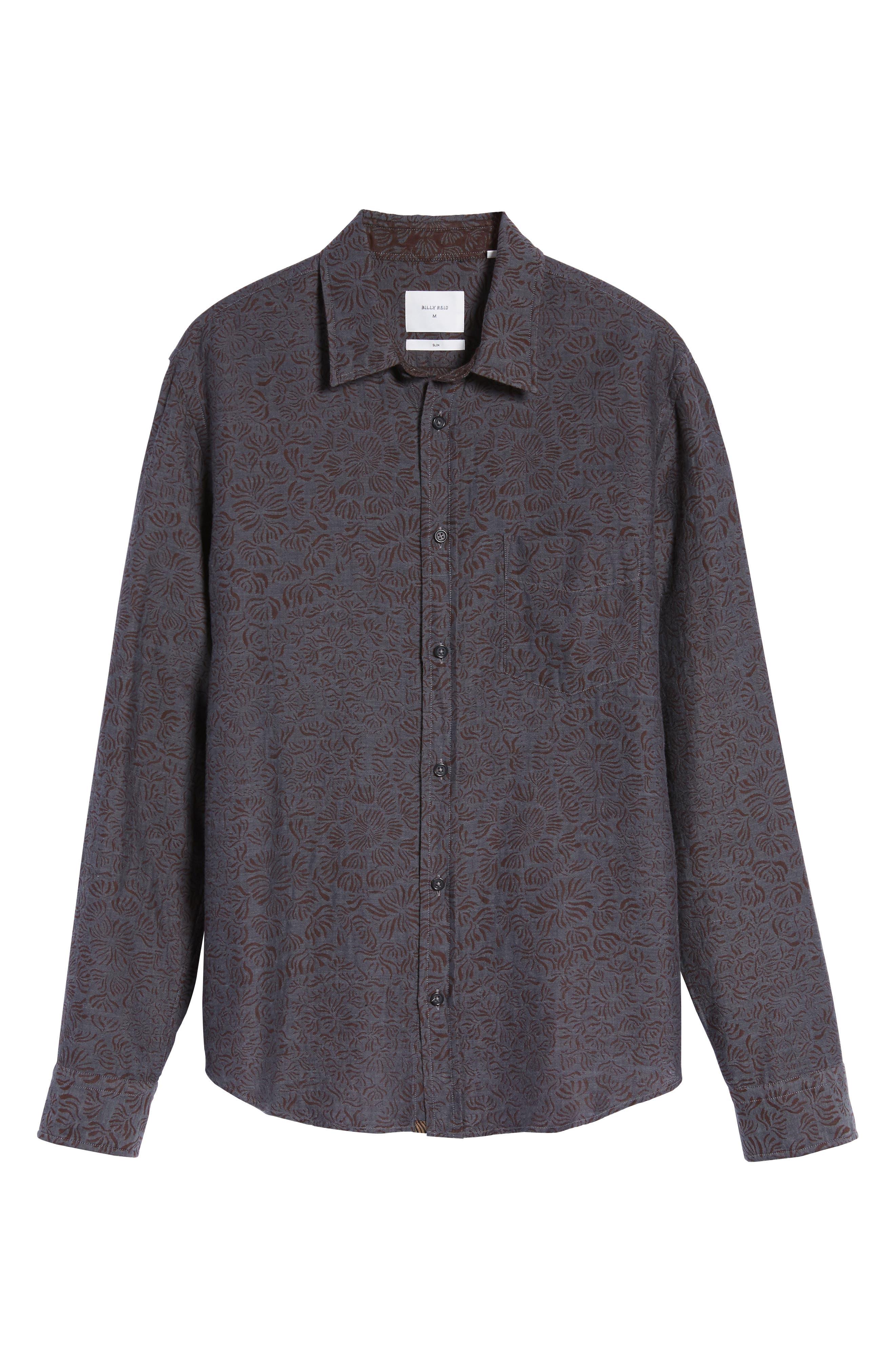 Kirby Slim Fit Jacquard Sport Shirt,                             Alternate thumbnail 6, color,                             Charcoal/ Burgundy
