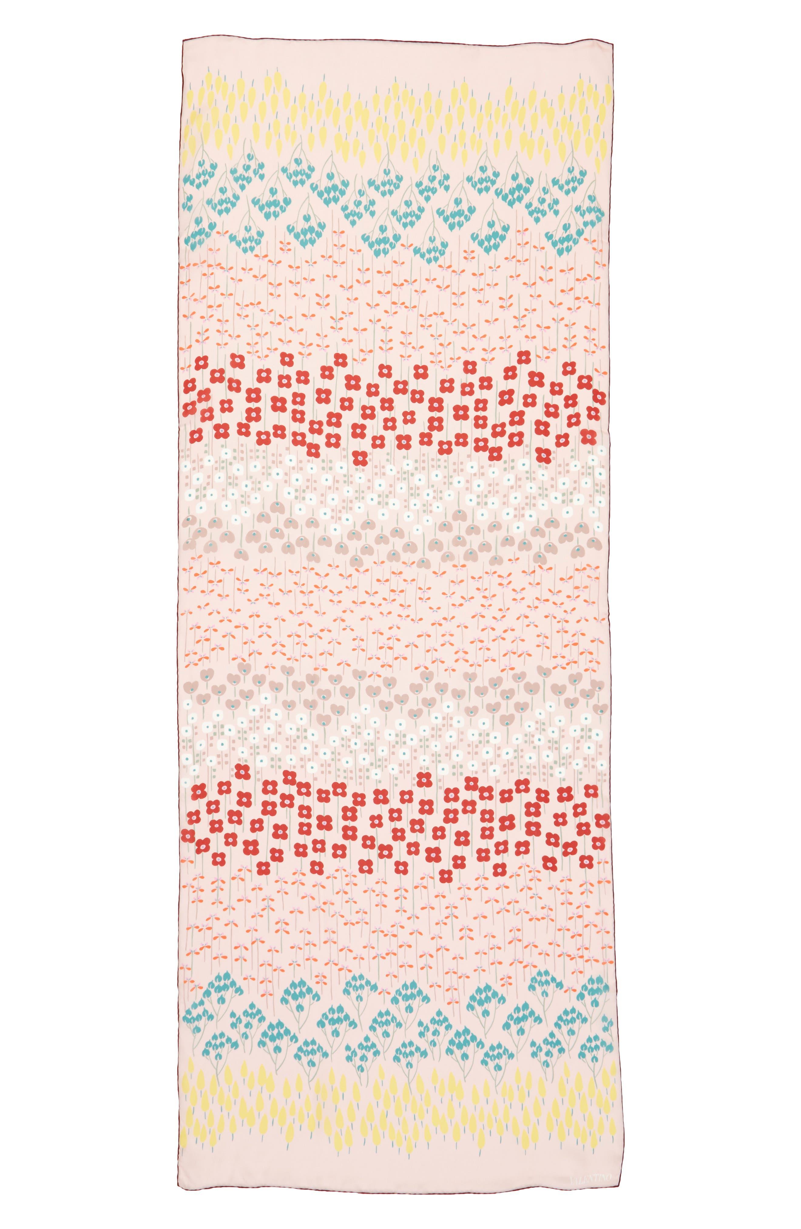 VALENTINO GARAVANI Valentino Flower Rows Silk Scarf