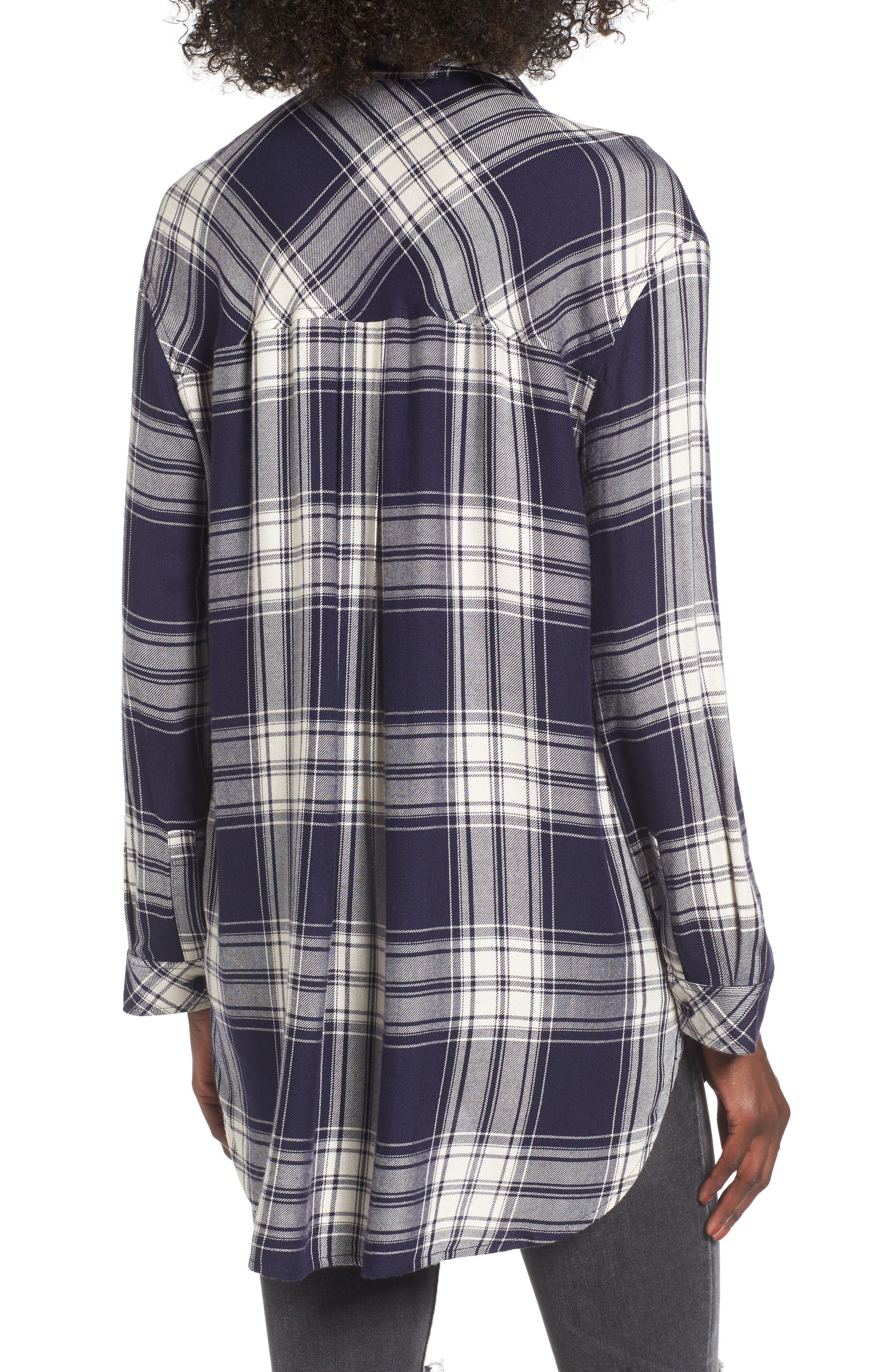 Oversize Flannel Shirt,                             Alternate thumbnail 2, color,                             Navy Peacoat Rose Plaid