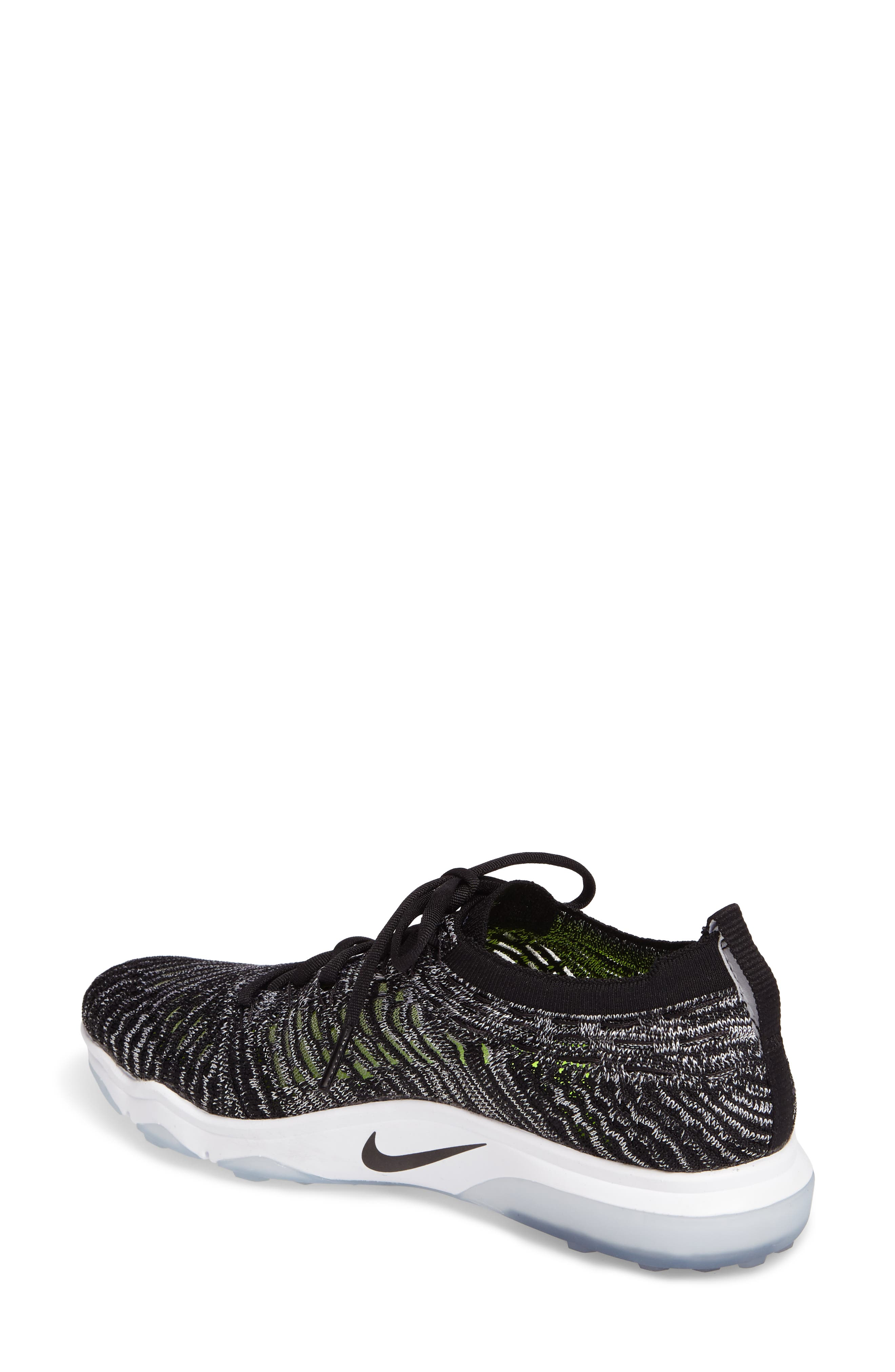 Air Zoom Fearless Flyknit Training Shoe,                             Alternate thumbnail 2, color,                             Black/ White/ White