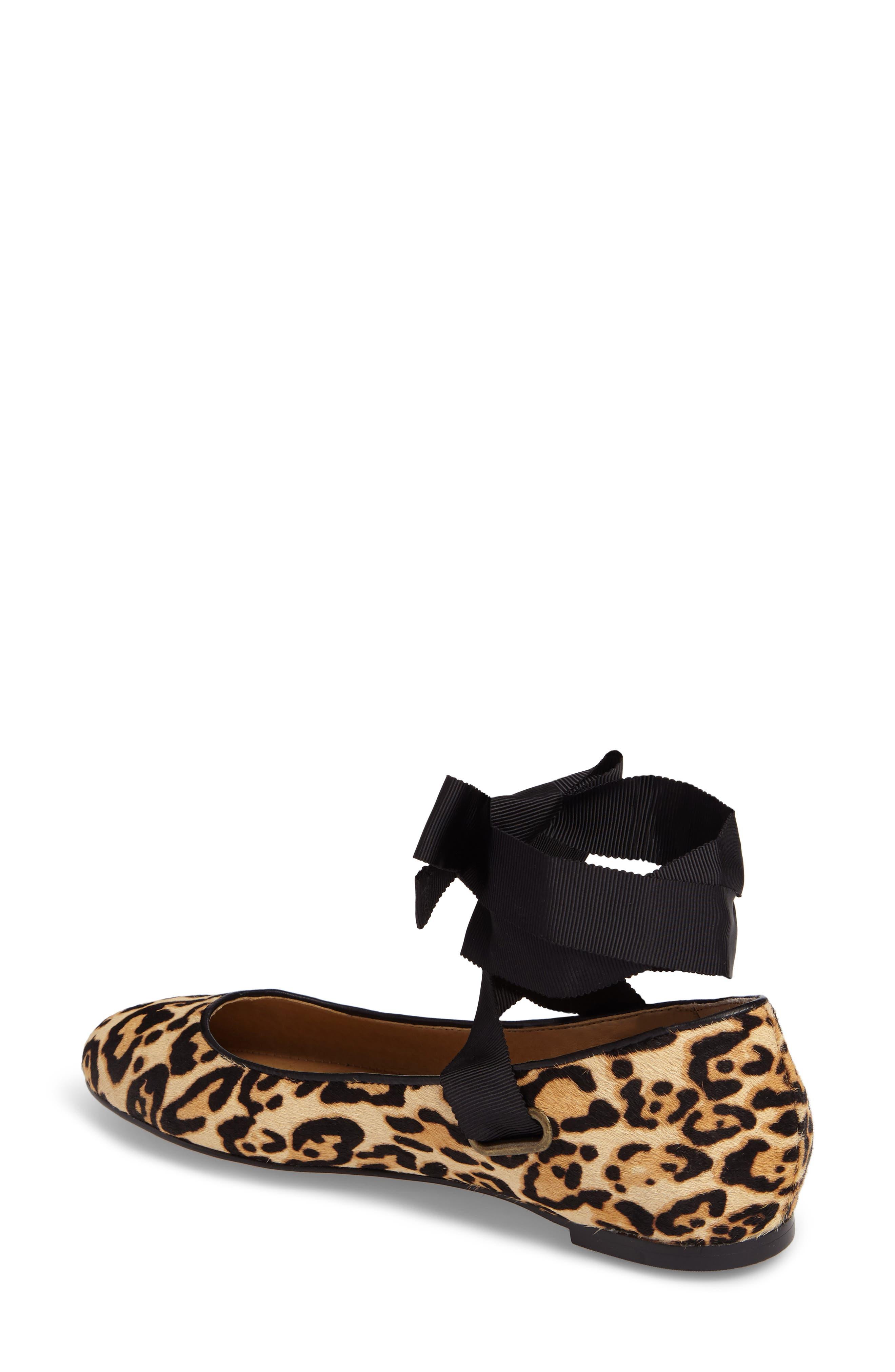 Renee II Genuine Calf Hair Ankle Tie Flat,                             Alternate thumbnail 2, color,                             Leopard Calf Hair