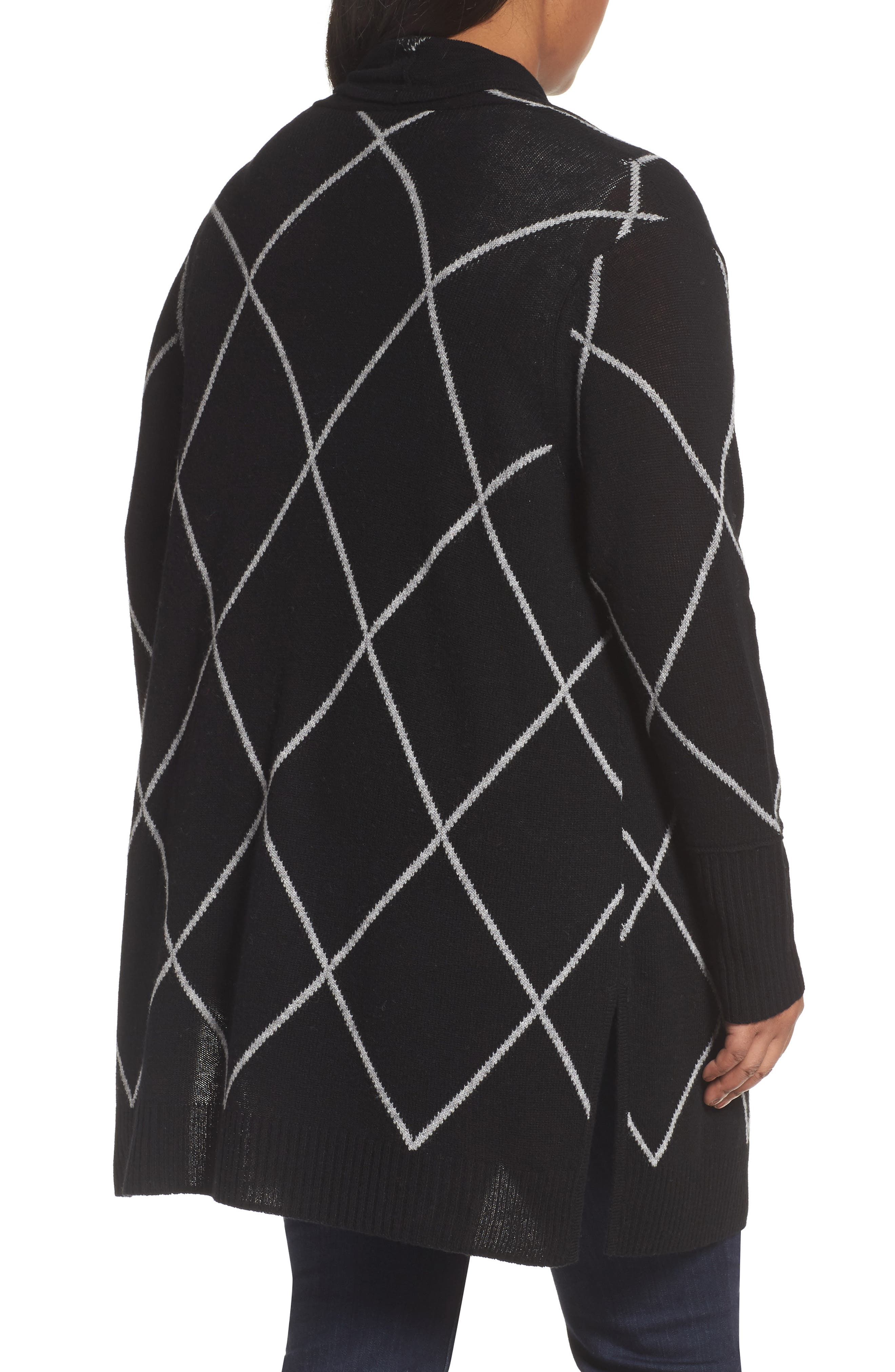 Windowpane Wool & Cashmere Cardigan,                             Alternate thumbnail 3, color,                             Black Windowpane