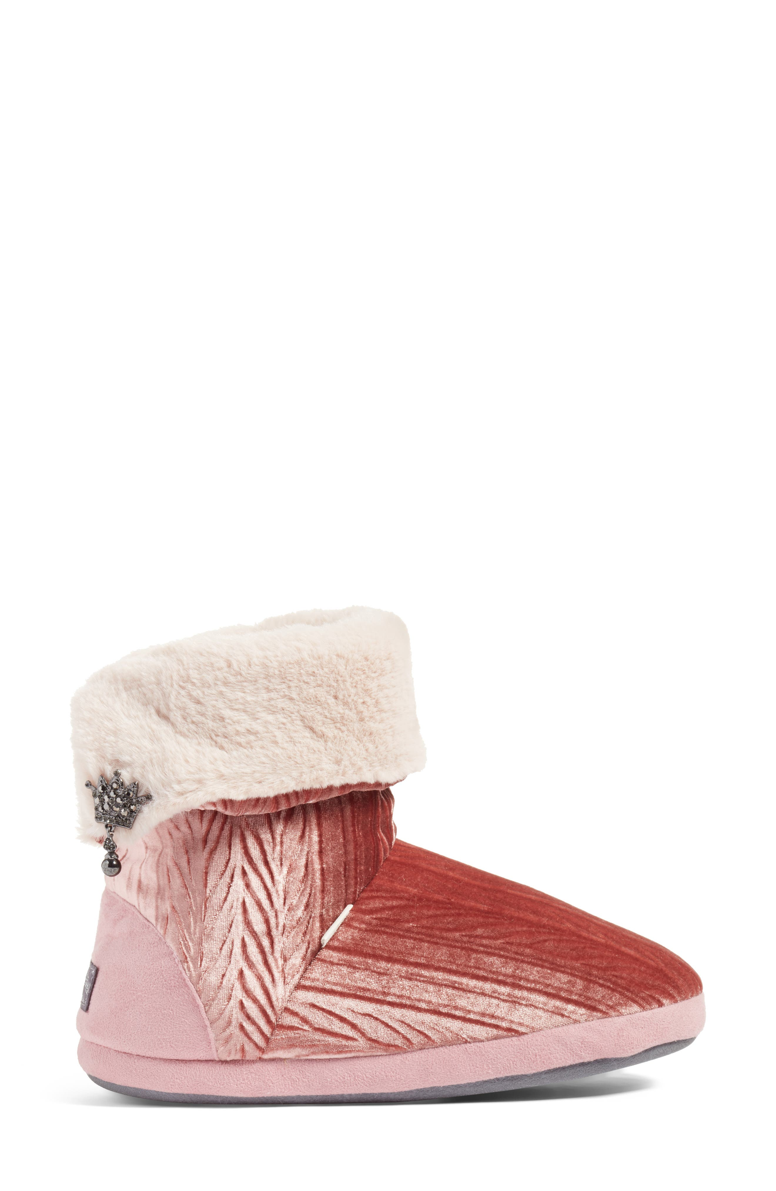 Velvet Bootie Slipper,                             Alternate thumbnail 2, color,                             Pink