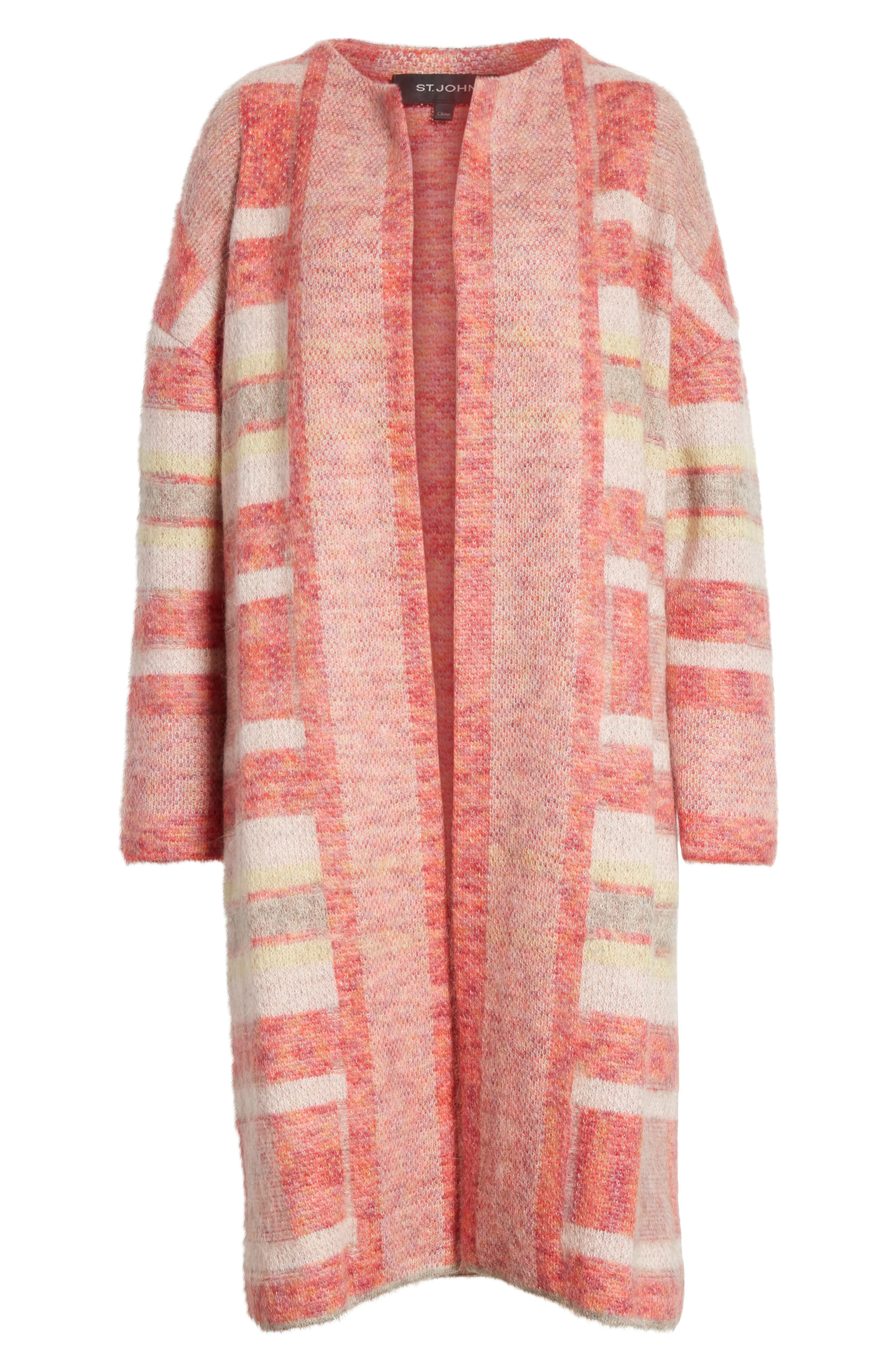 Lofty Knit Plaid Blanket Coat,                             Alternate thumbnail 7, color,                             Bright Coral Multi
