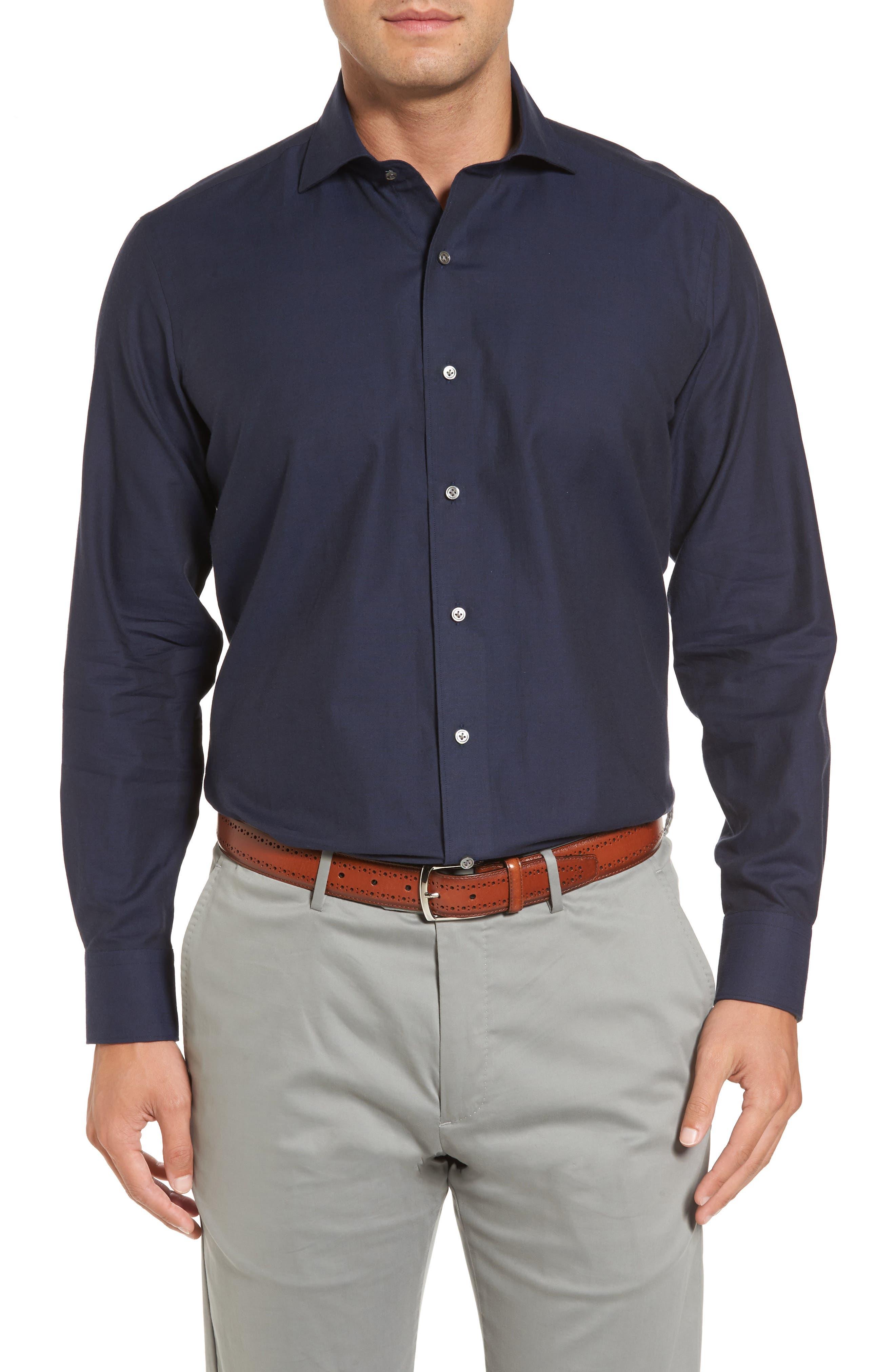 Main Image - Peter Millar Silky Touch Herringbone Sport Shirt
