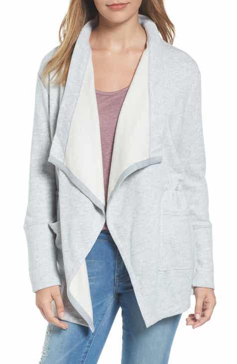 802ca65e25a Caslon® Asymmetrical Drape Collar Terry Jacket (Regular   Petite)