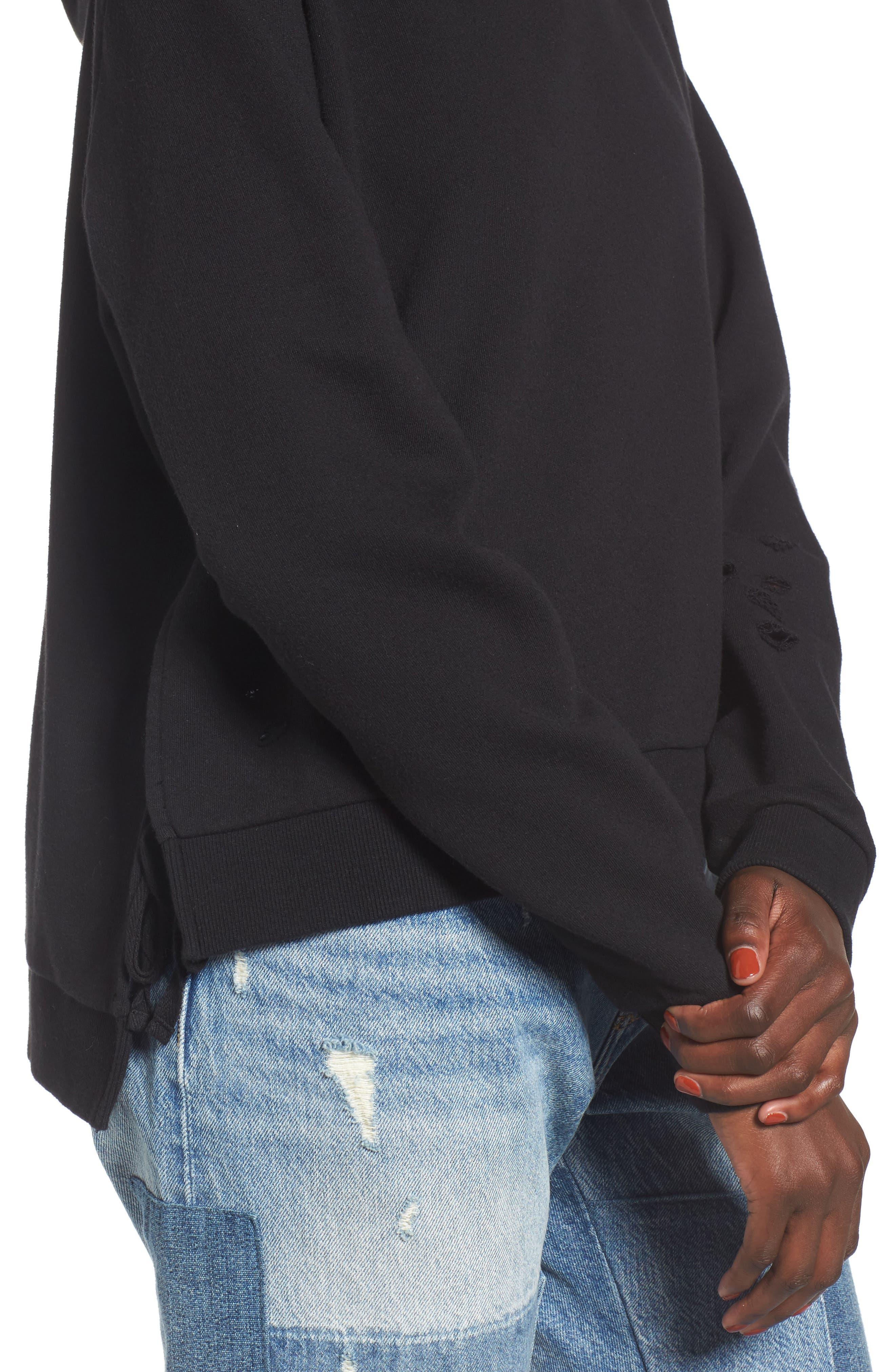 Alternate Image 4  - BP. Distressed Side Tie Hoodie
