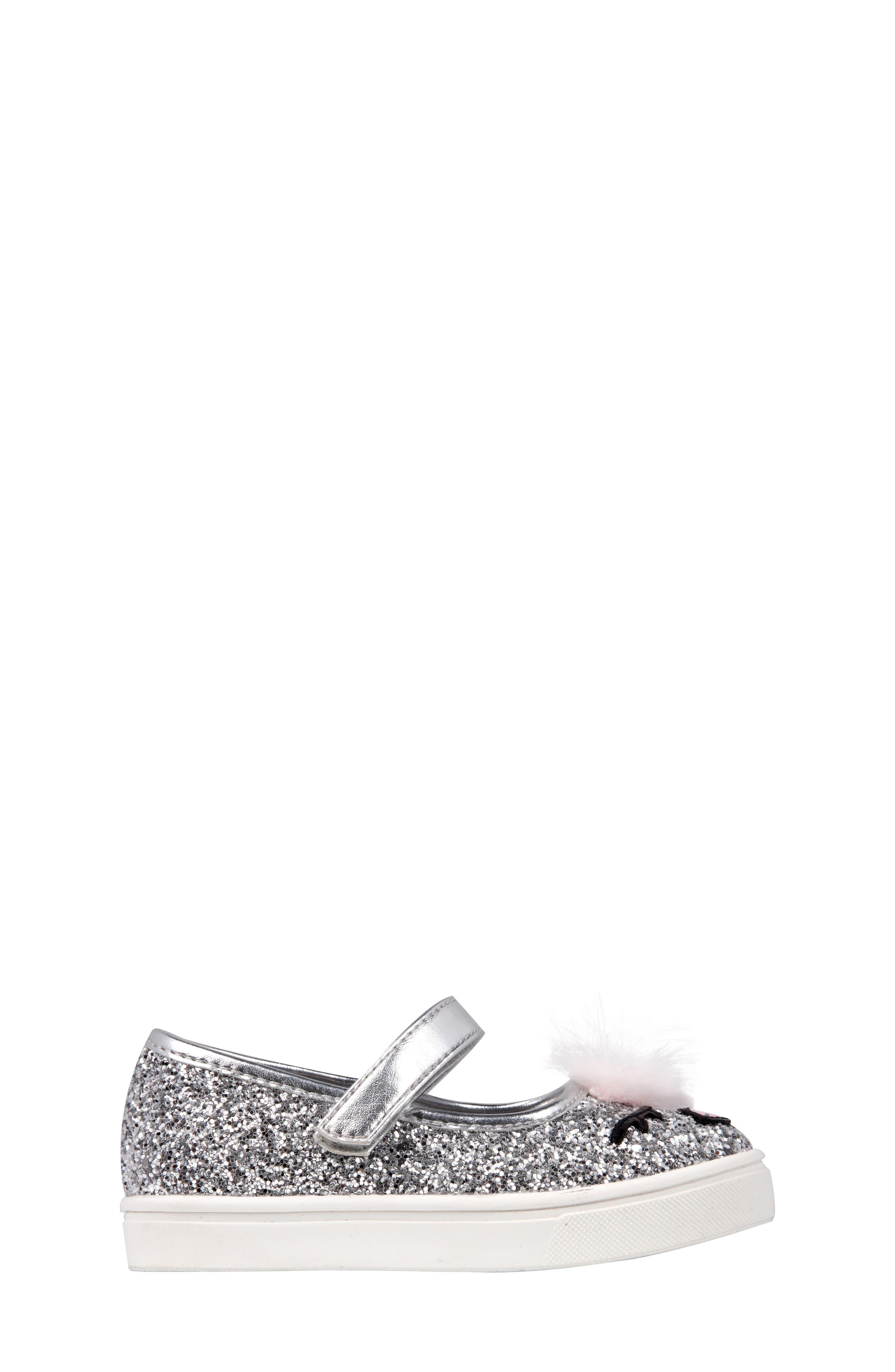 Ragina Faux Fur Glitter Mary Jane Sneaker,                             Alternate thumbnail 3, color,                             Silver Chunky Glitter