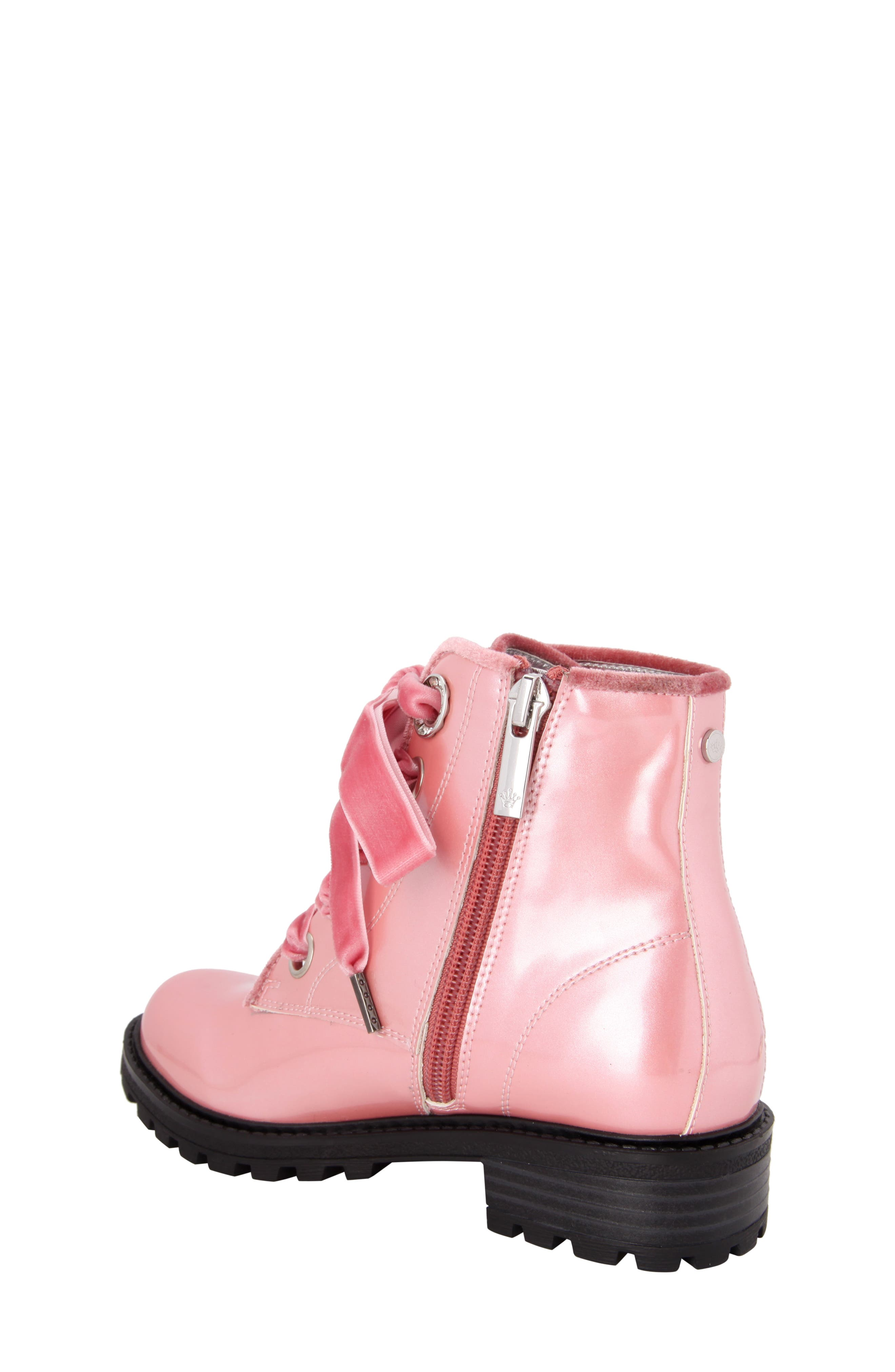 Cherrie Lugged Patent Boot,                             Alternate thumbnail 2, color,                             Blush Faux Patent/ Velvet