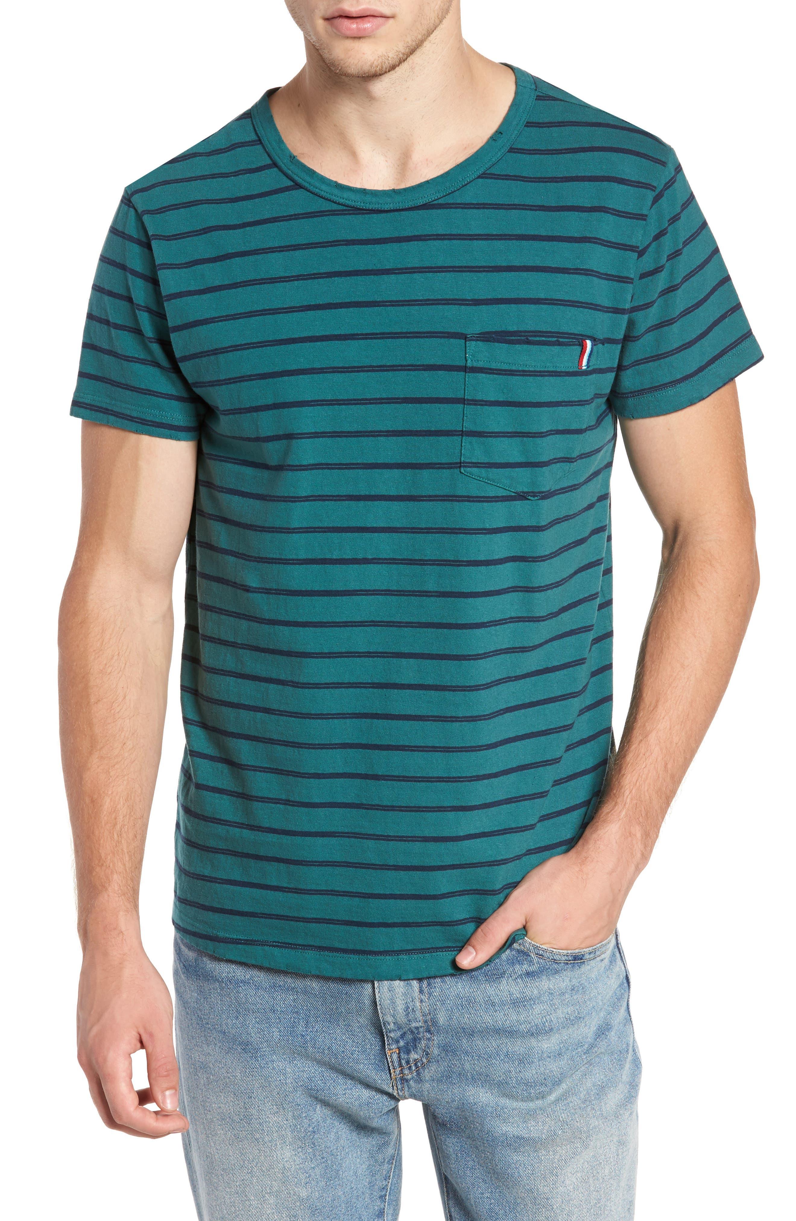 Vintage Stripe Pocket T-Shirt,                         Main,                         color, Glade