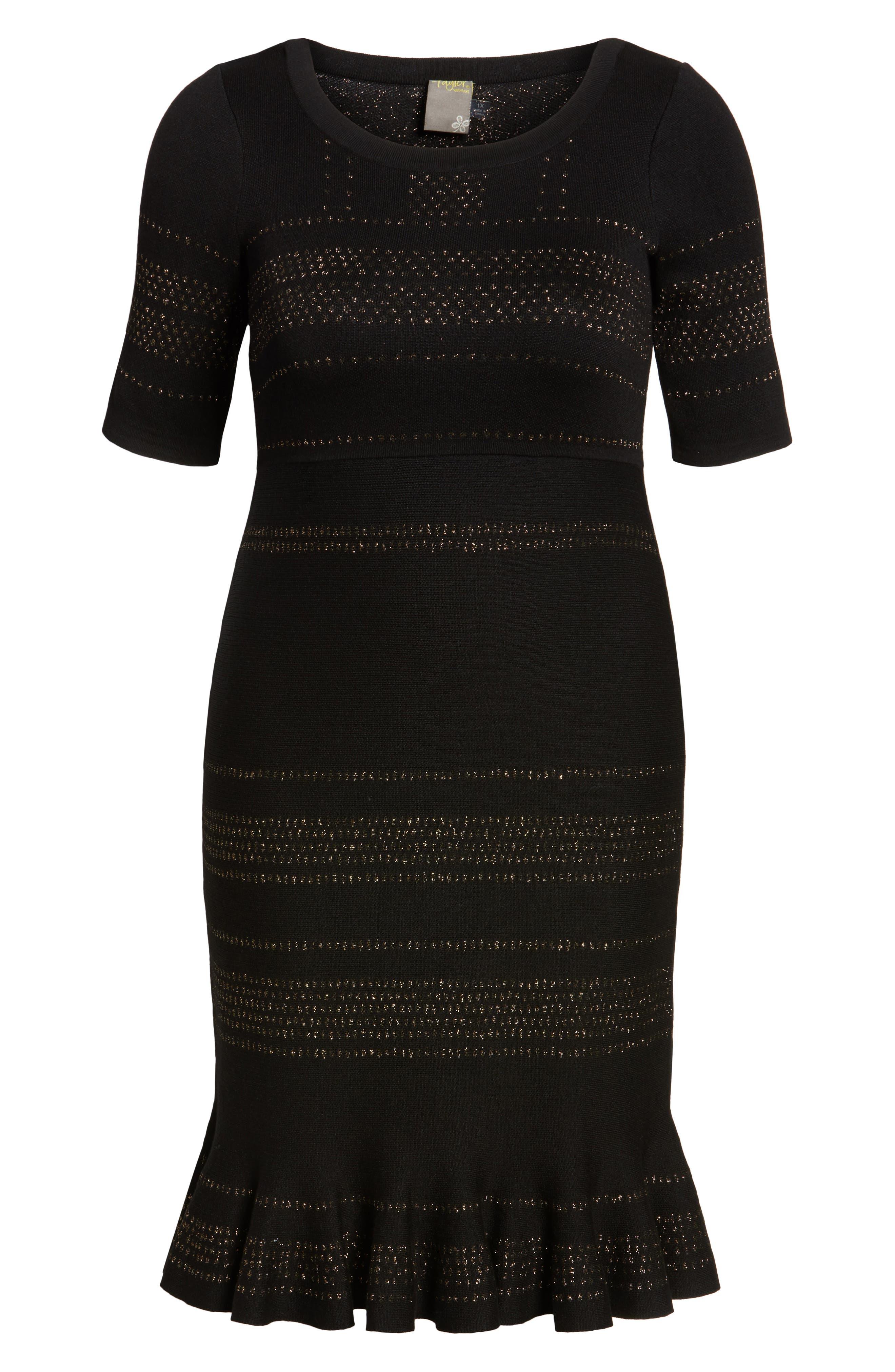 Alternate Image 6  - Taylor Dresses Metallic Knit Dress (Plus Size)