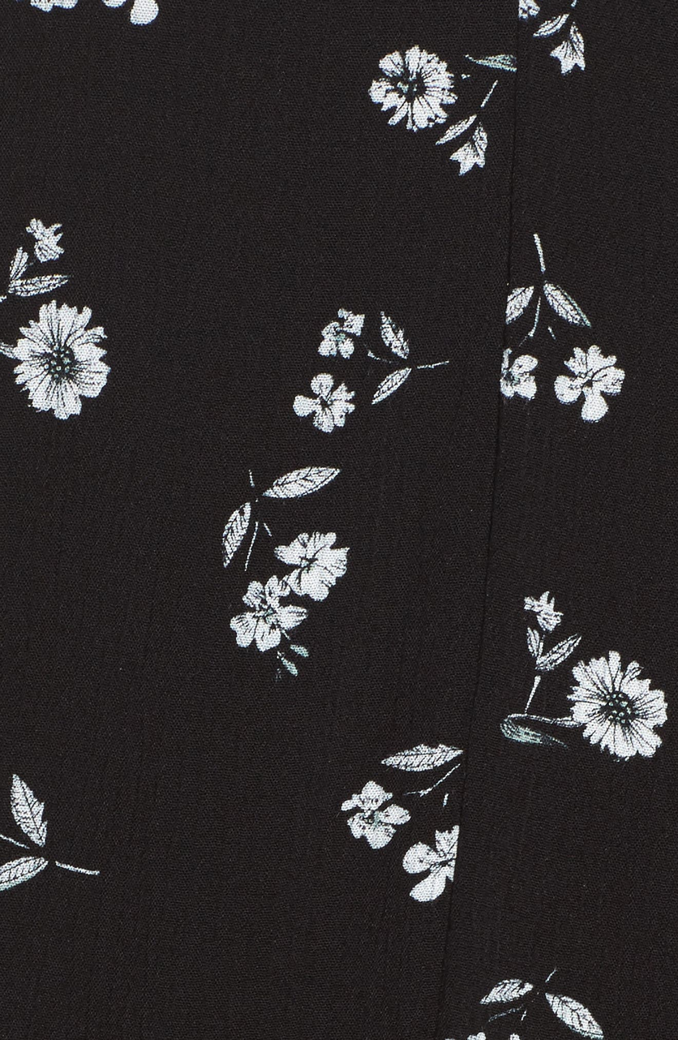 Bell Sleeve Floral Shift Dress,                             Alternate thumbnail 5, color,                             Black White Daisy
