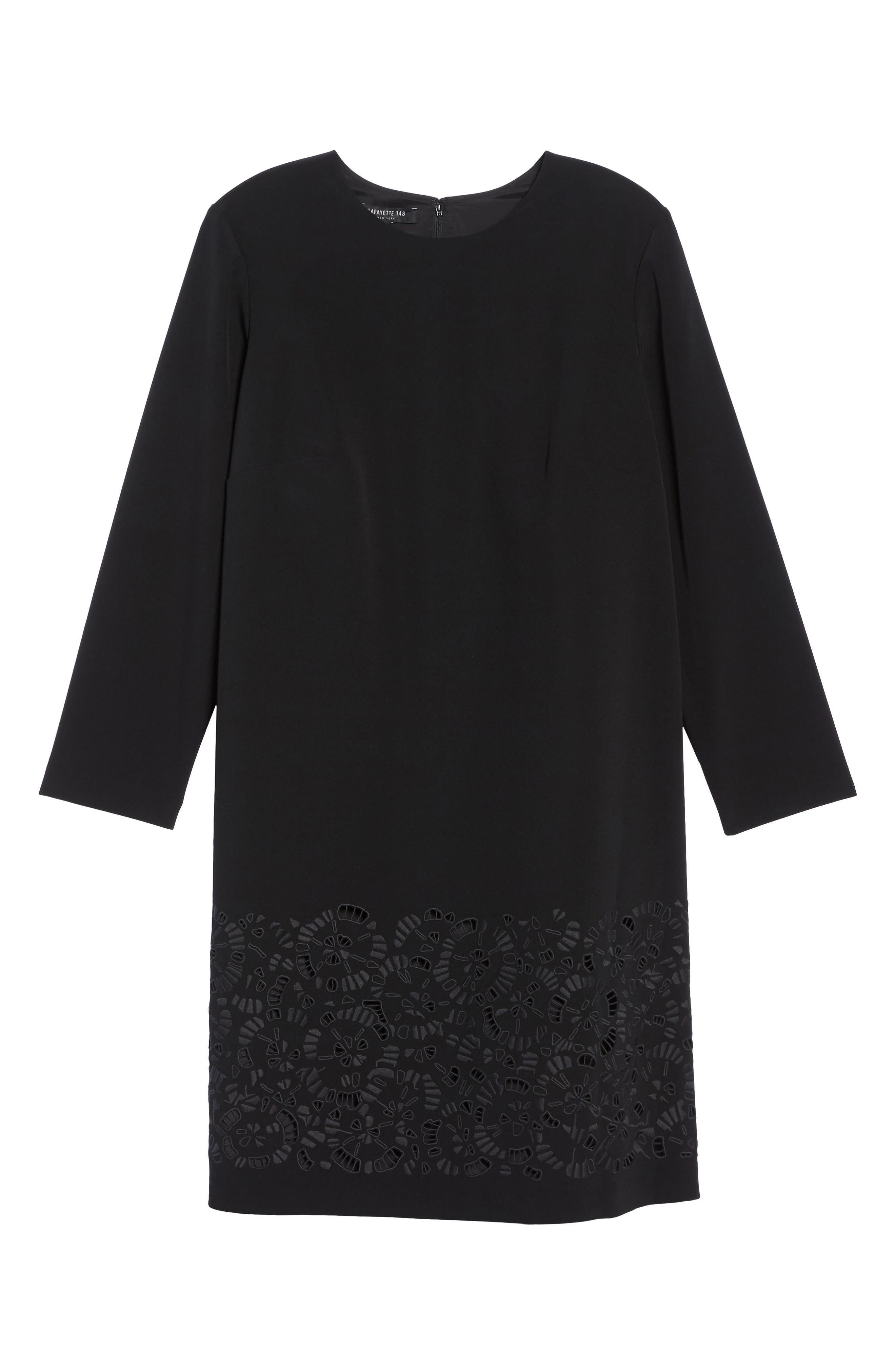 Corbin Laser Cut Dress,                             Alternate thumbnail 6, color,                             Black