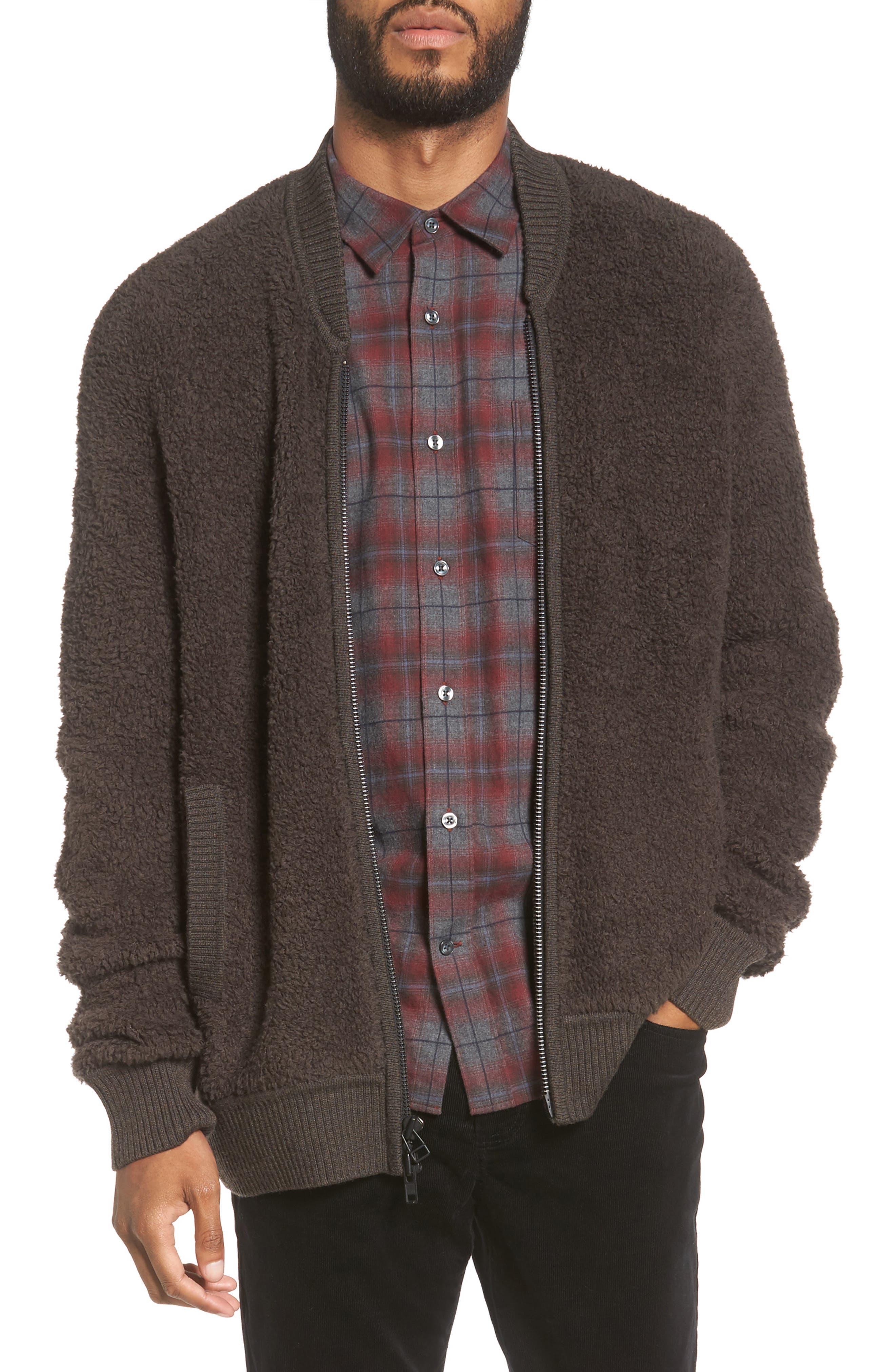 Fleece Wool Blend Bomber Jacket,                         Main,                         color, Oil