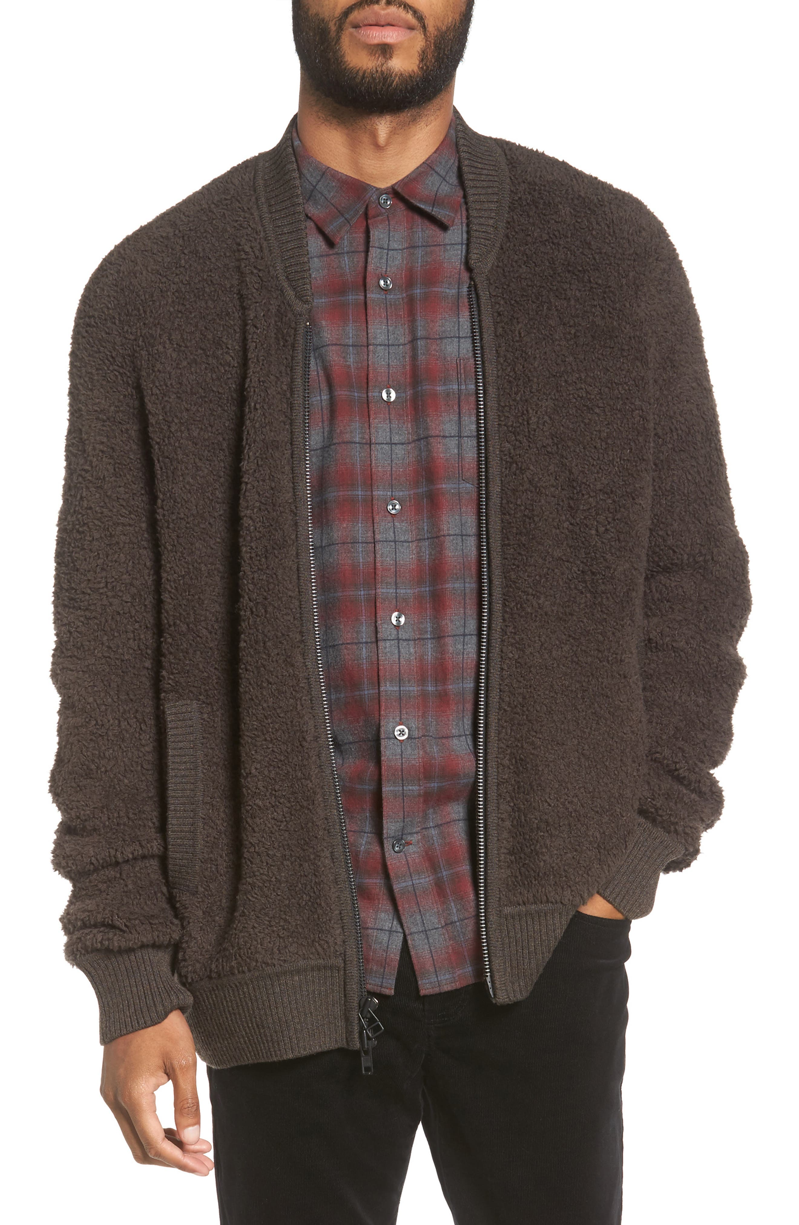 Vince Fleece Wool Blend Bomber Jacket