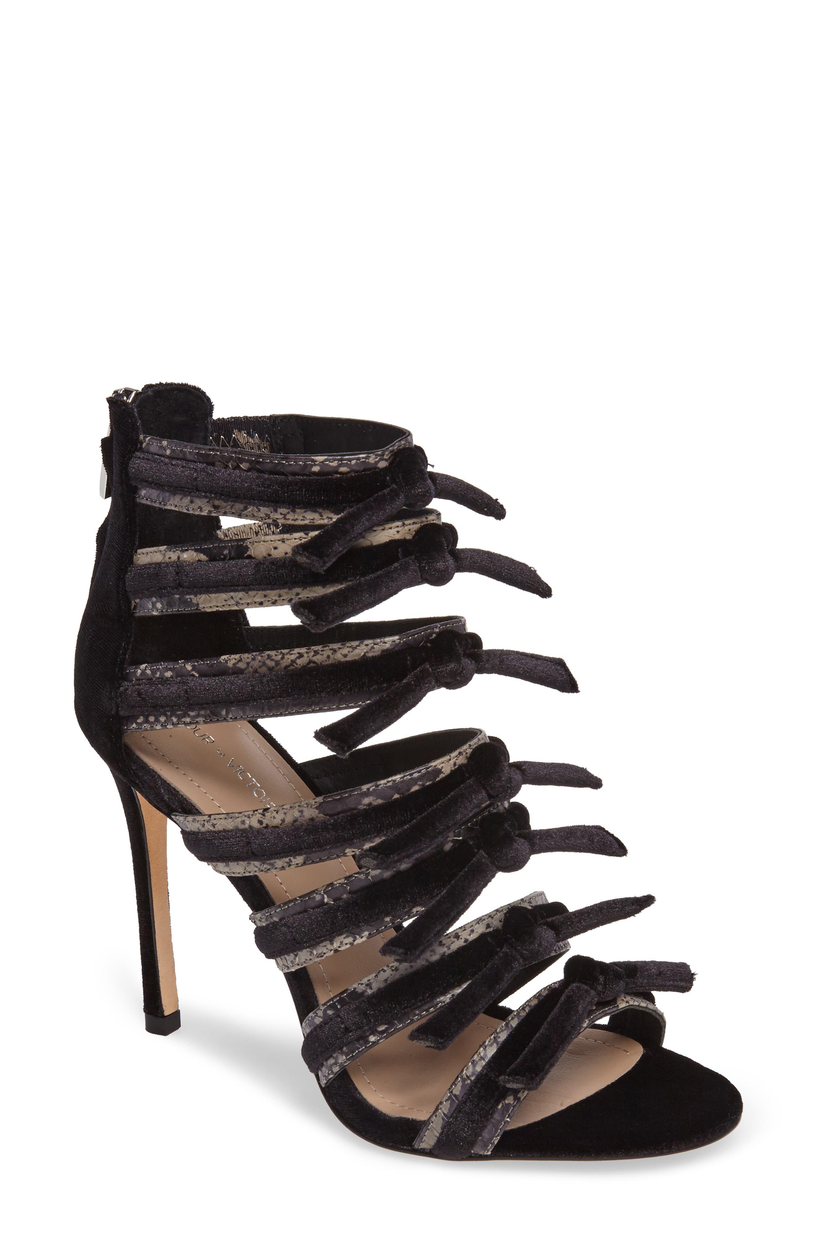Pour la Victoire Elsie Velvet & Snakeskin Strappy Sandal