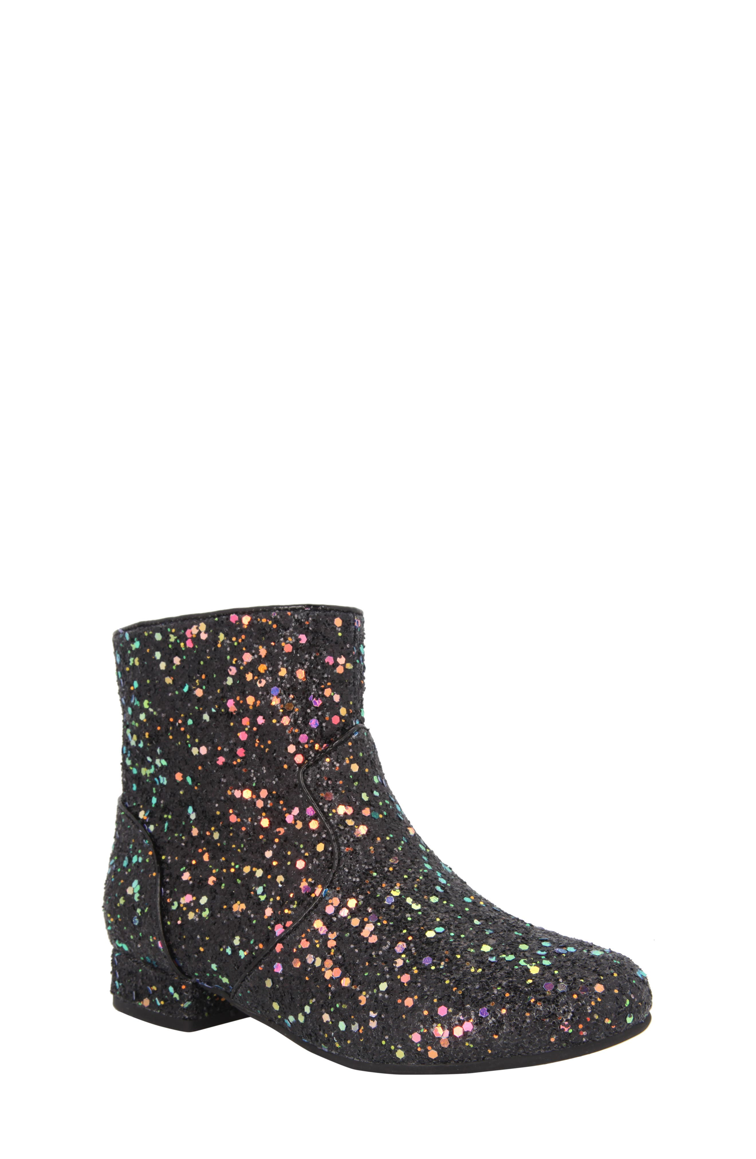 Amy Multicolor Glitter Bootie,                             Main thumbnail 1, color,                             Black Chunky Glitter