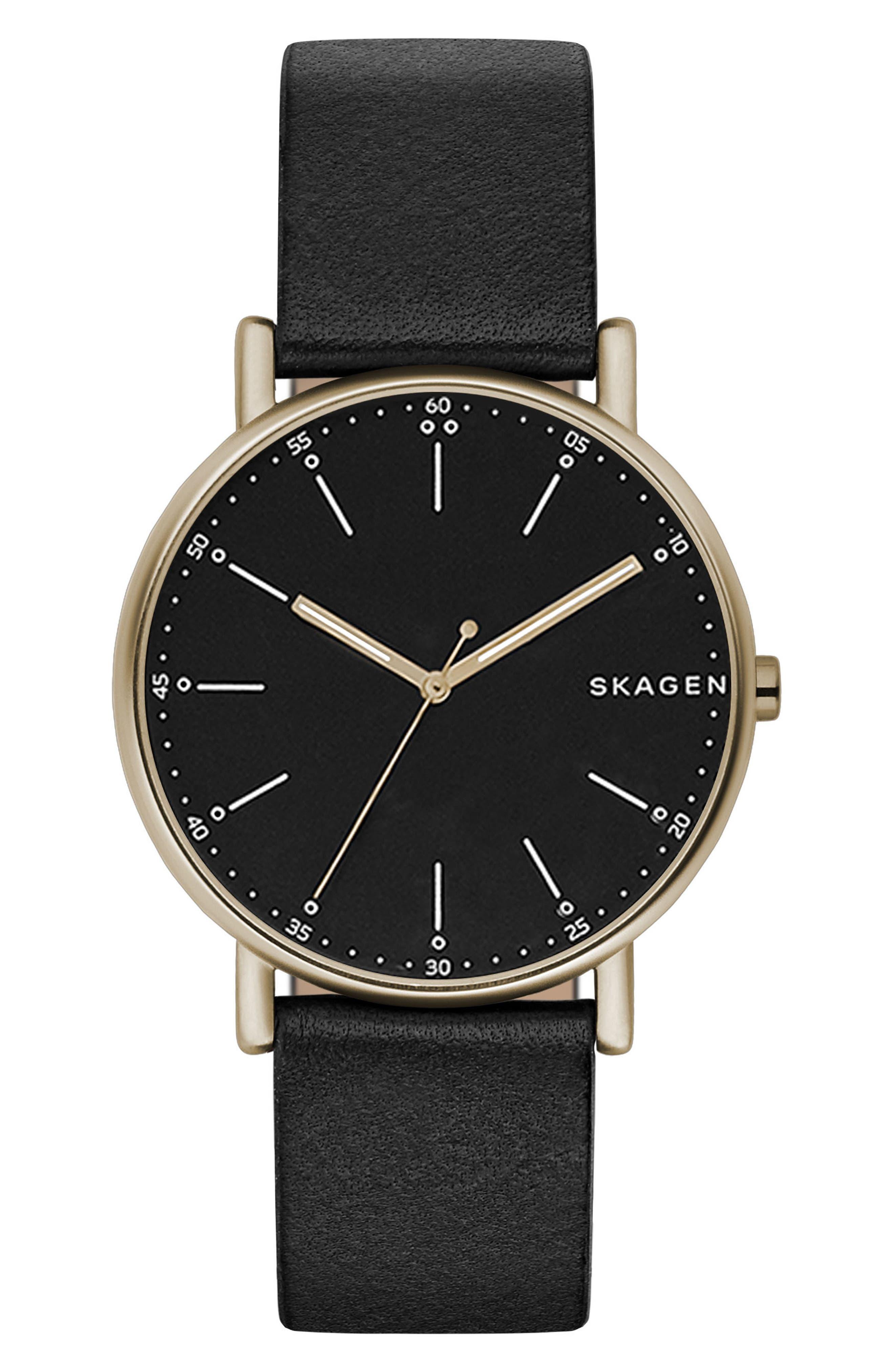 Signatur Leather Strap Watch, 40mm,                         Main,                         color, Black/ Tan
