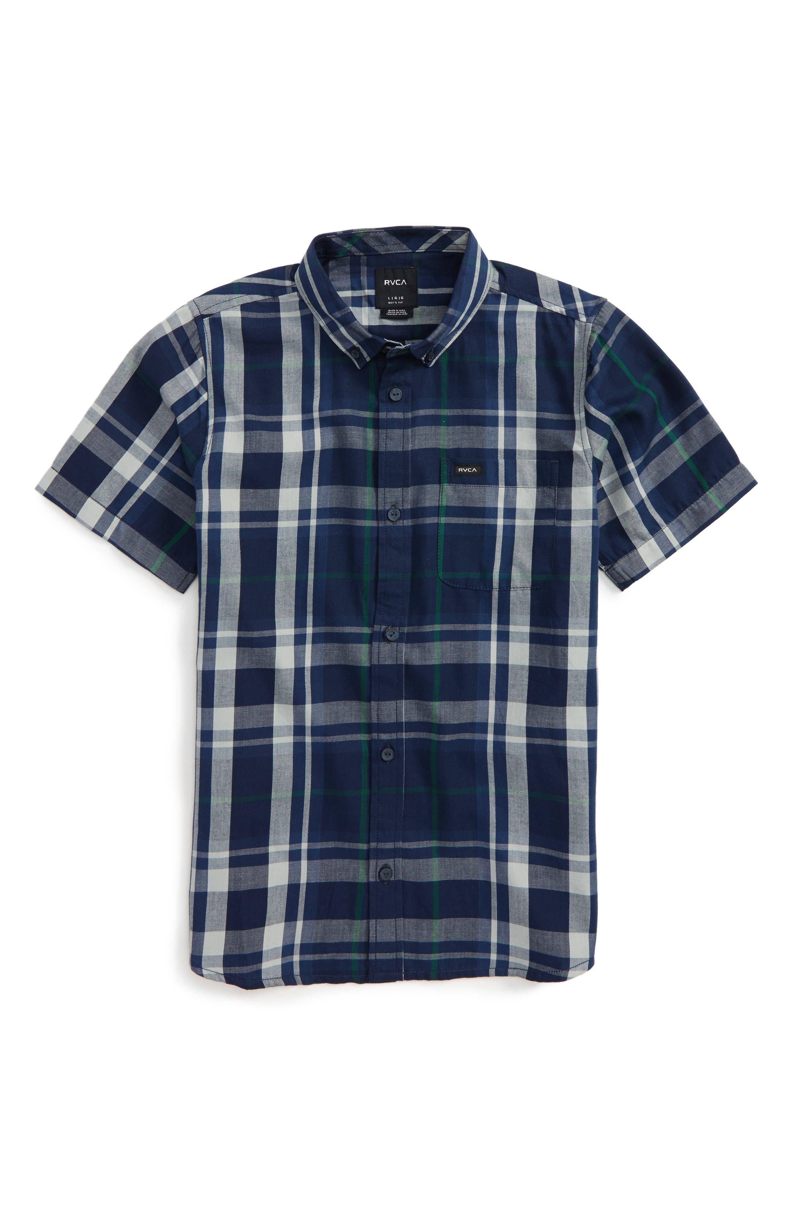 Alternate Image 1 Selected - RVCA Plaid Woven Shirt (Big Boys)