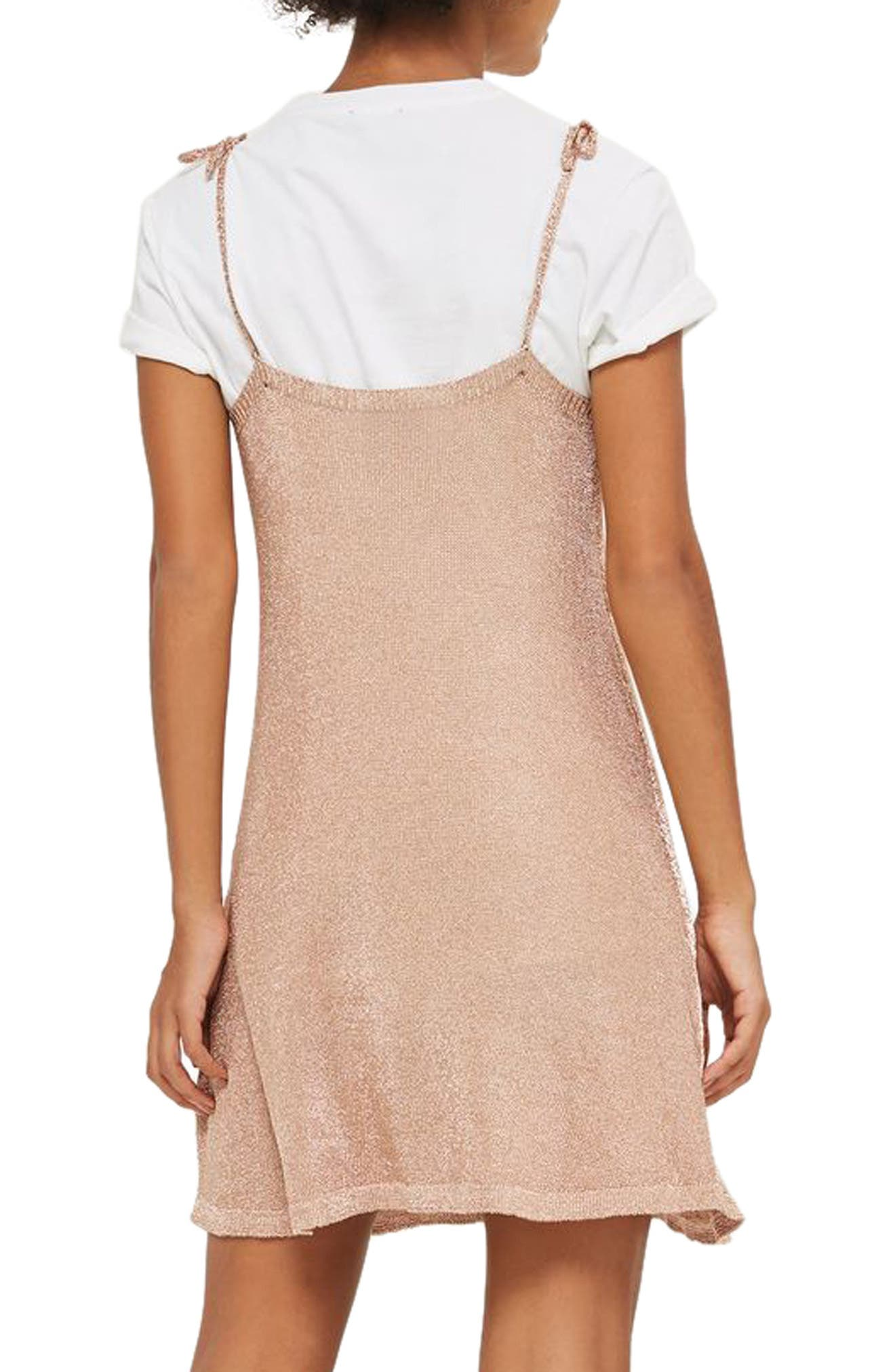 Alternate Image 3  - Topshop Metallic Knit Slipdress