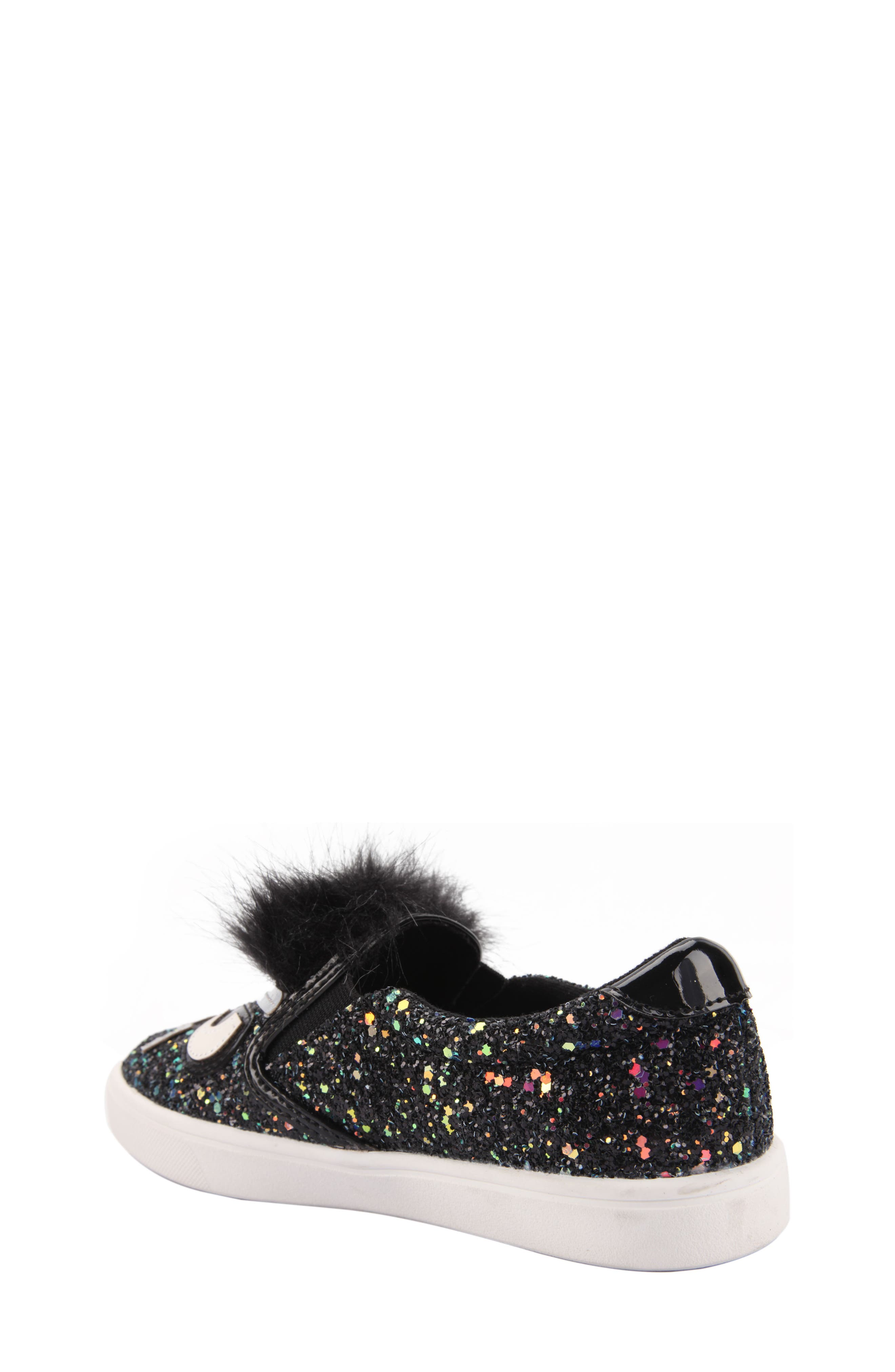 Alyx Faux Fur Glittery Slip-On Sneaker,                             Alternate thumbnail 2, color,                             Black Chunky Glitter