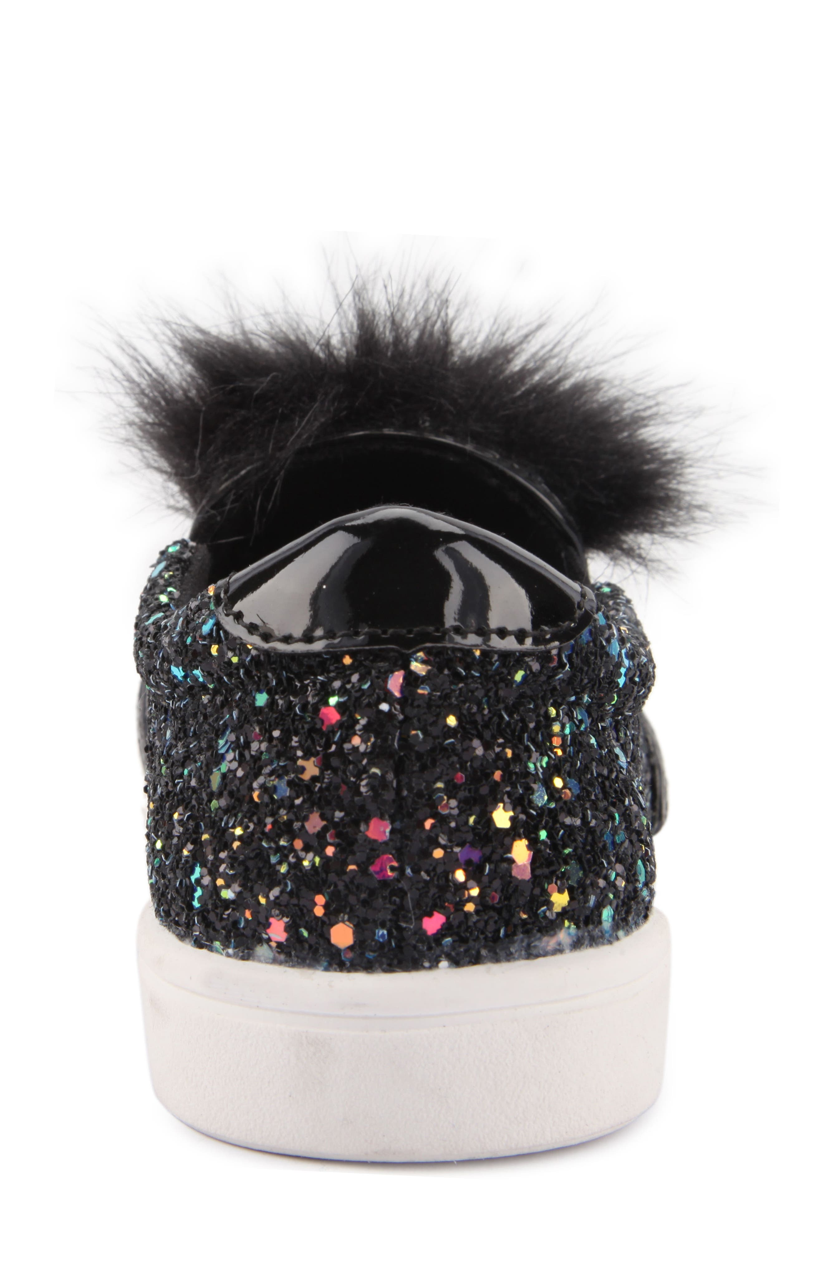 Alyx Faux Fur Glittery Slip-On Sneaker,                             Alternate thumbnail 7, color,                             Black Chunky Glitter