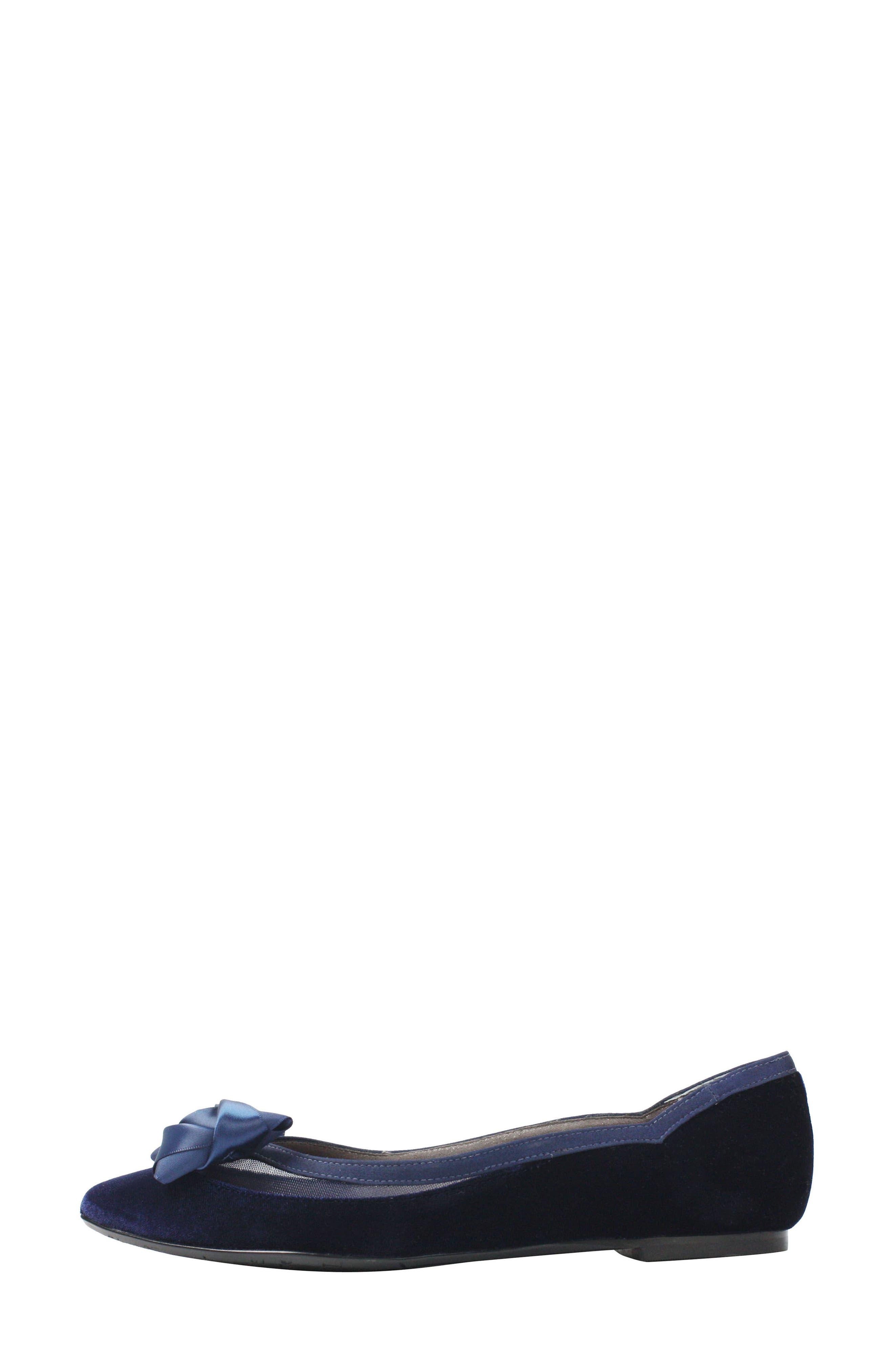 Allitson Bow Flat,                             Alternate thumbnail 2, color,                             Navy Velvet Fabric