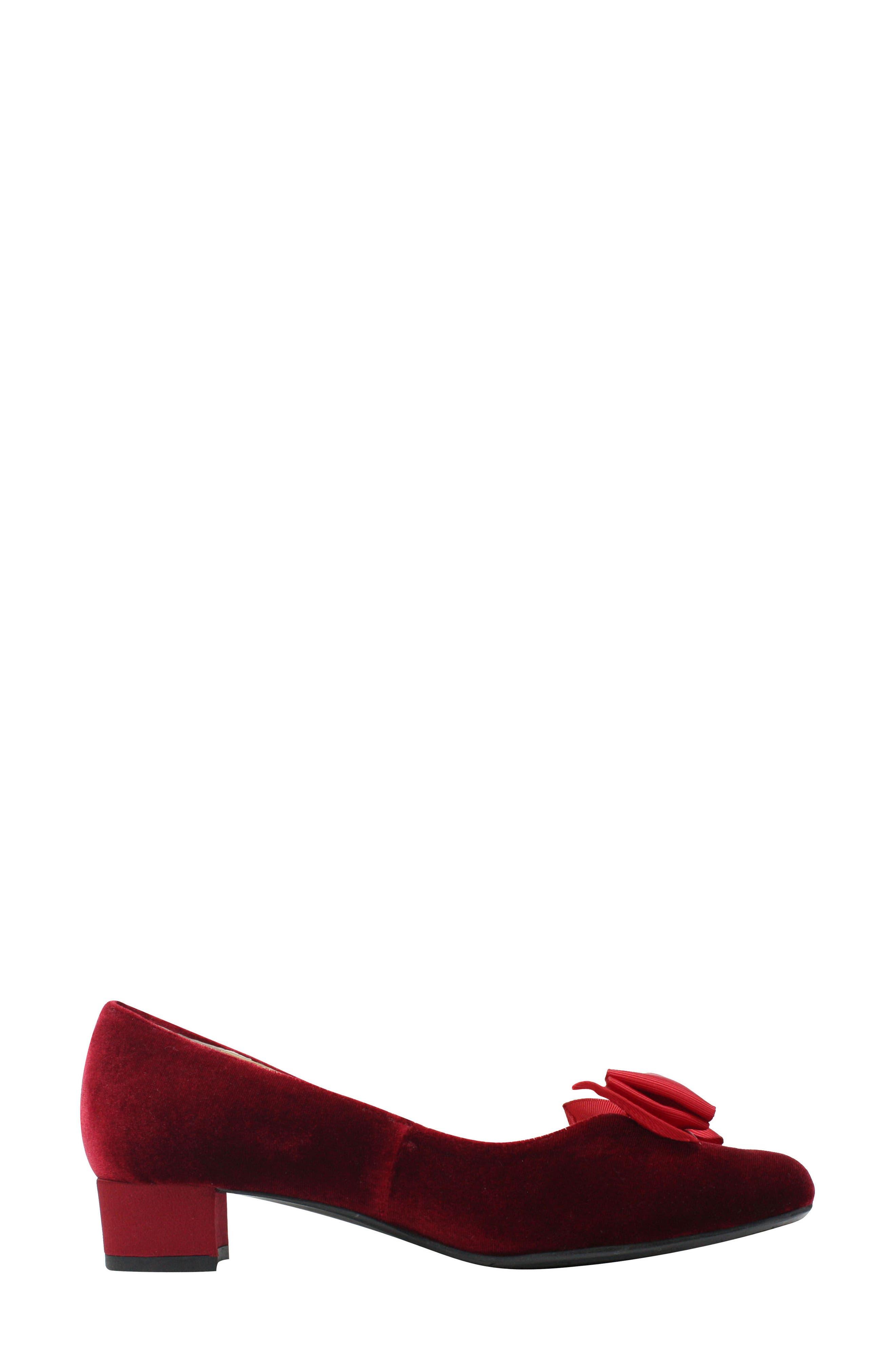 Cameo Bow Pump,                             Alternate thumbnail 3, color,                             Burgundy Velvet Fabric