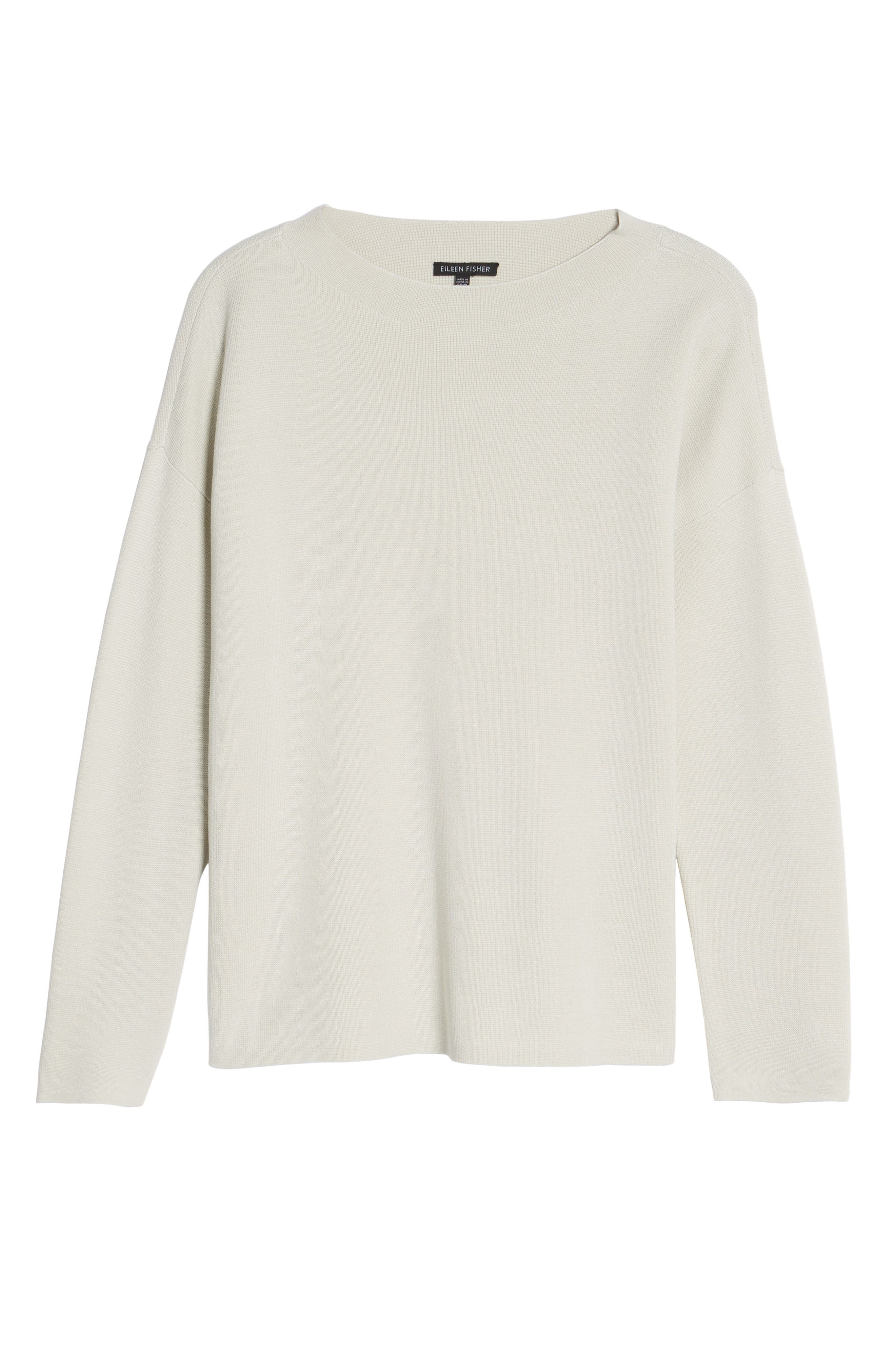 Mock Neck Box Silk & Organic Cotton Sweater,                             Alternate thumbnail 6, color,                             Bone