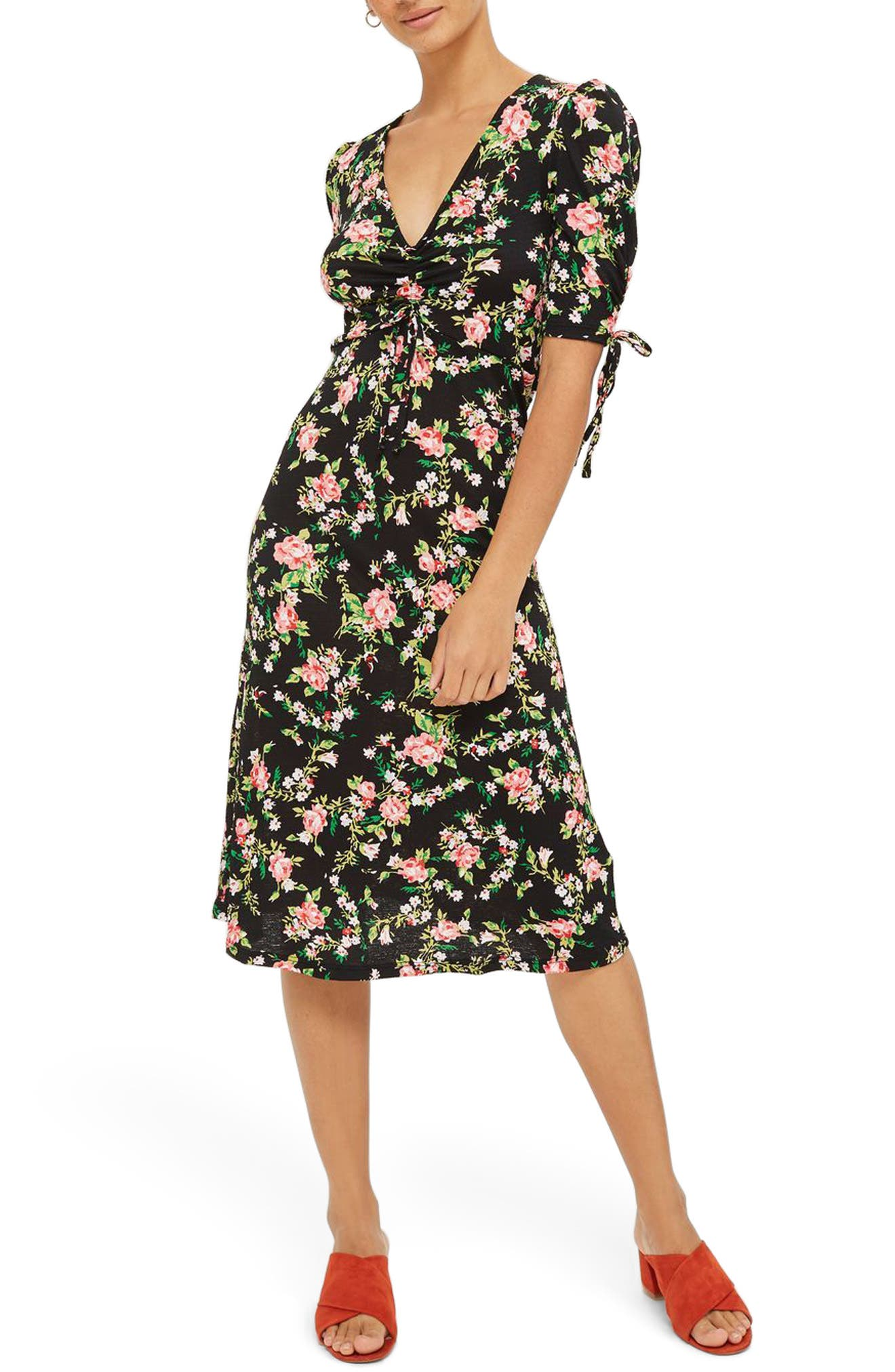 Topshop Floral Ruched Midi Dress