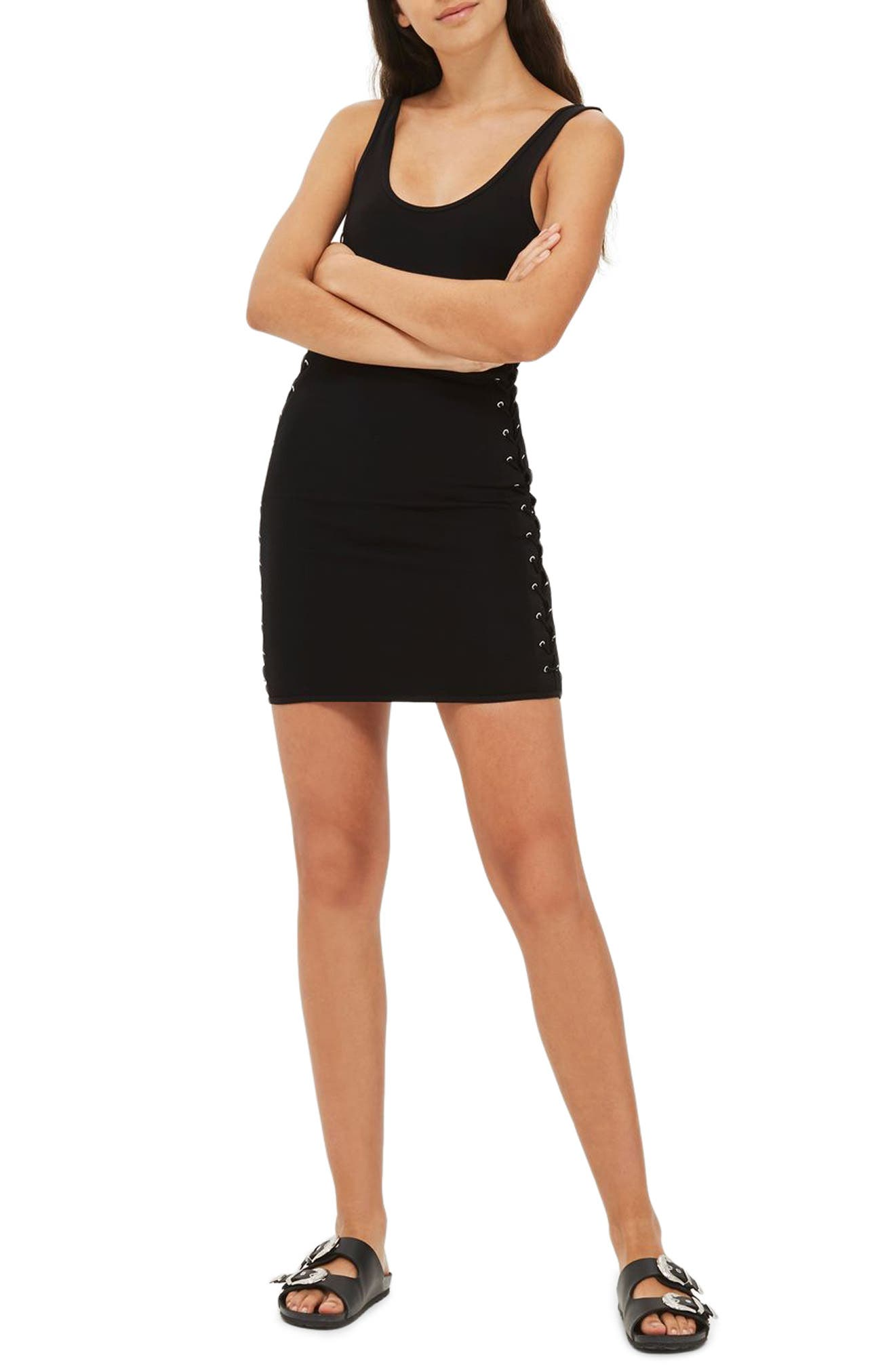Lace-Up Side Body-Con Dress,                             Main thumbnail 1, color,                             Black