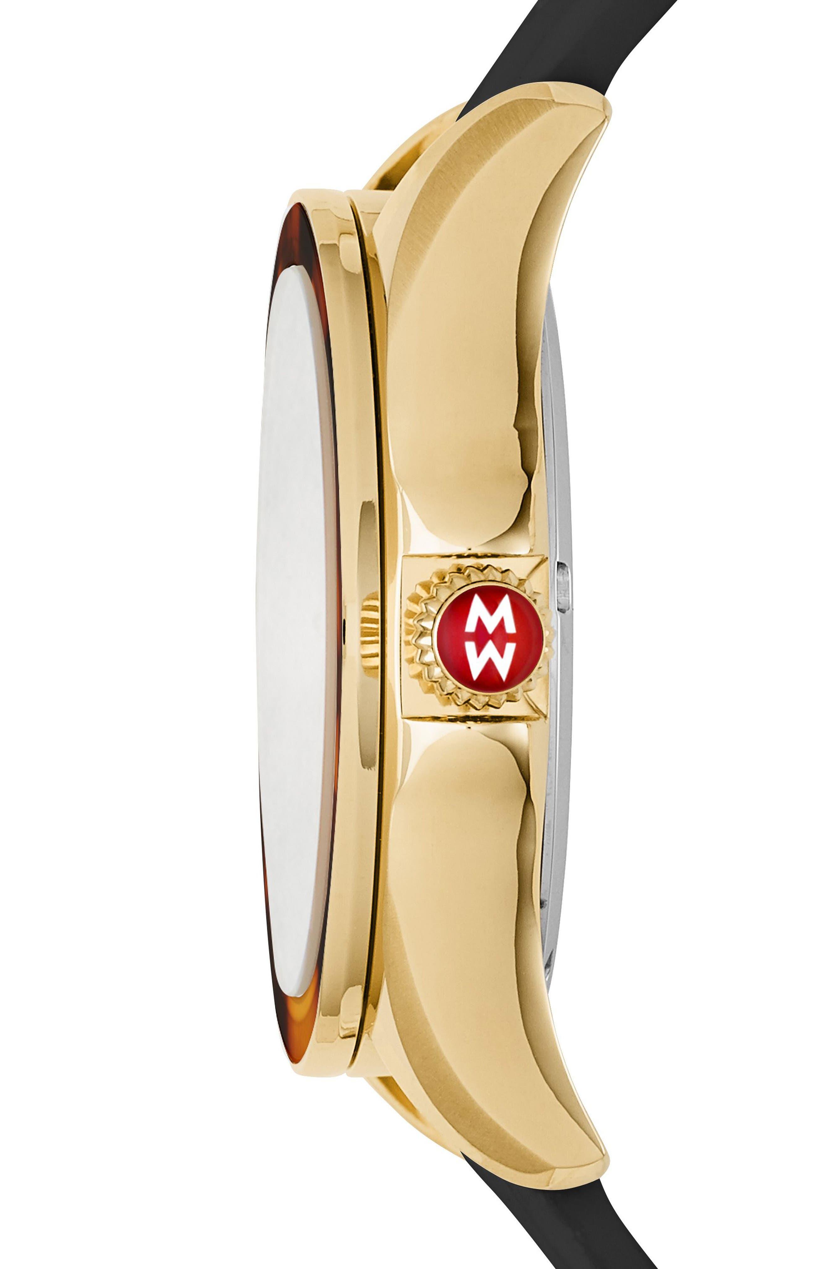 Alternate Image 2  - MICHELE Cape Jewel Head & Silicone Strap Watch, 40mm