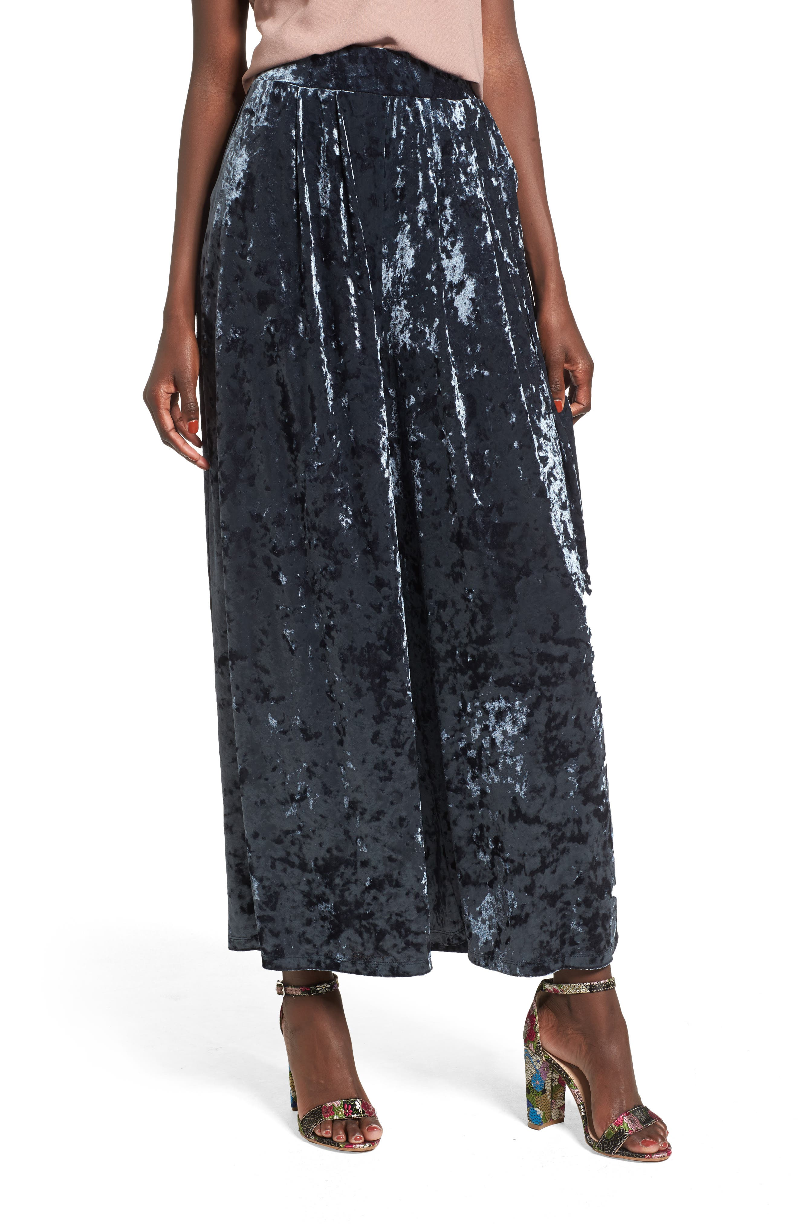 Crop Wide Leg Velour Pants,                         Main,                         color, Navy India Ink