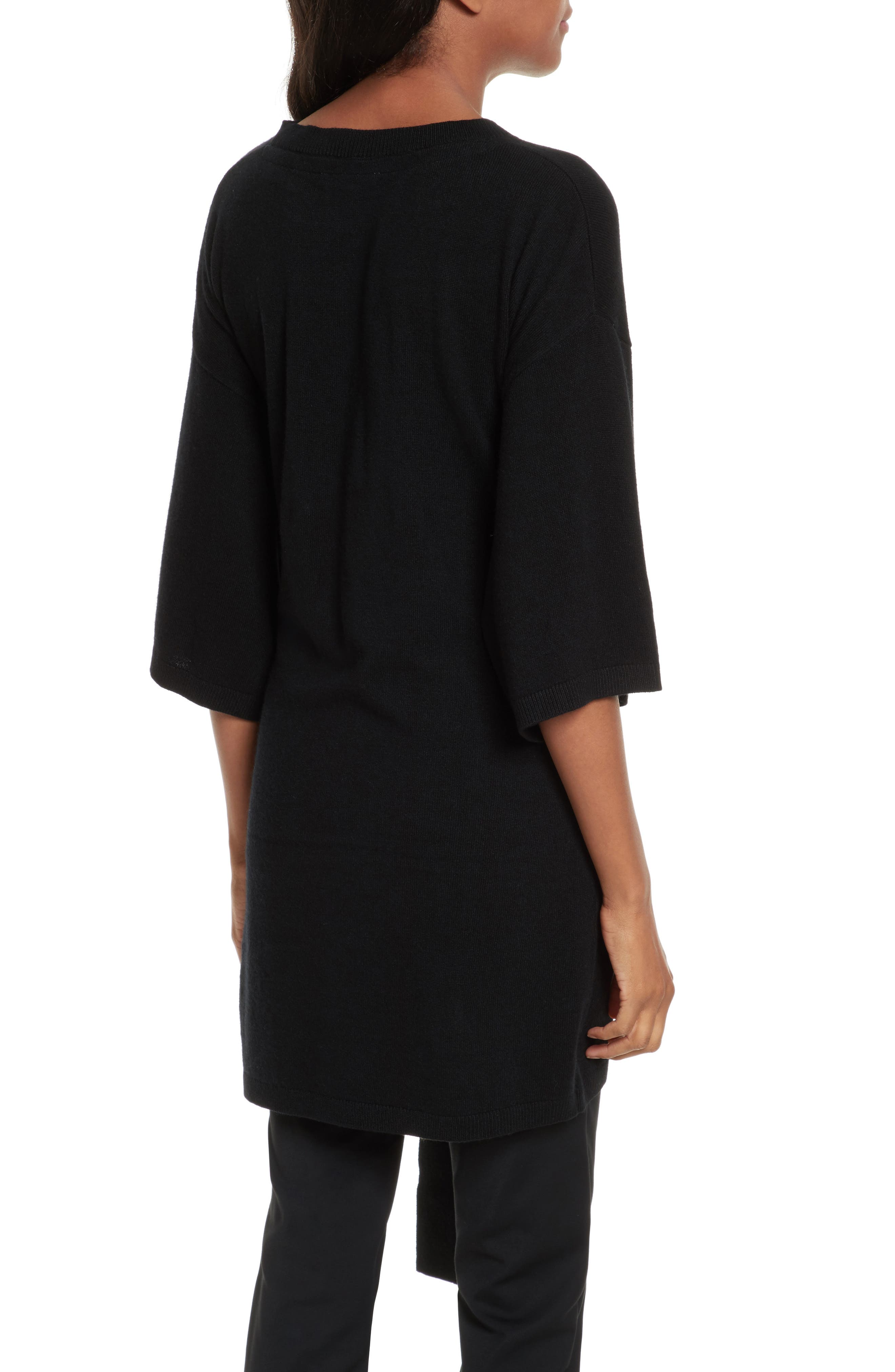 Olympy Tie Front Knit Tunic,                             Alternate thumbnail 2, color,                             Black