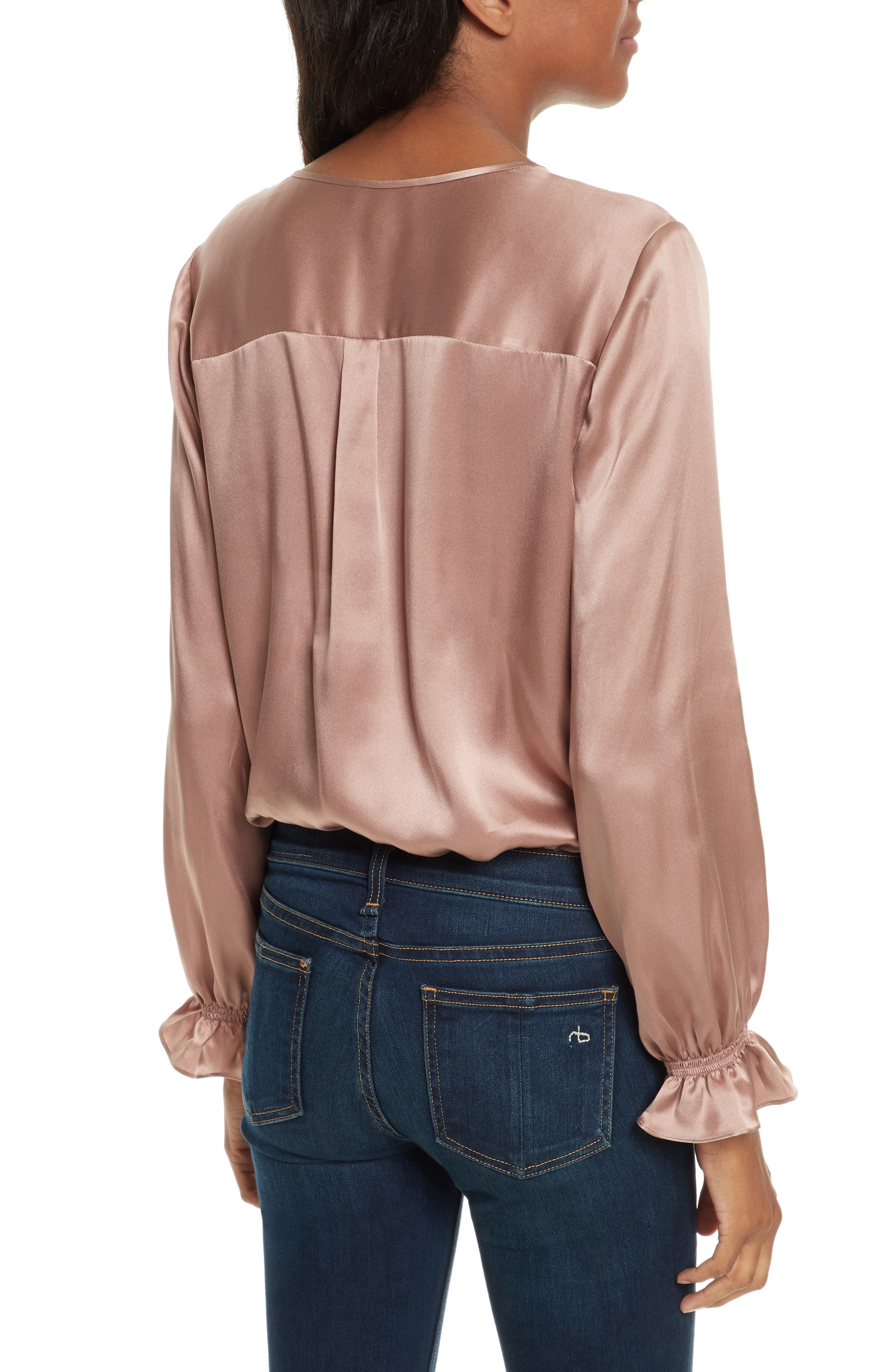 Jayanne B Silk Blouse,                             Alternate thumbnail 2, color,                             Dried Rose
