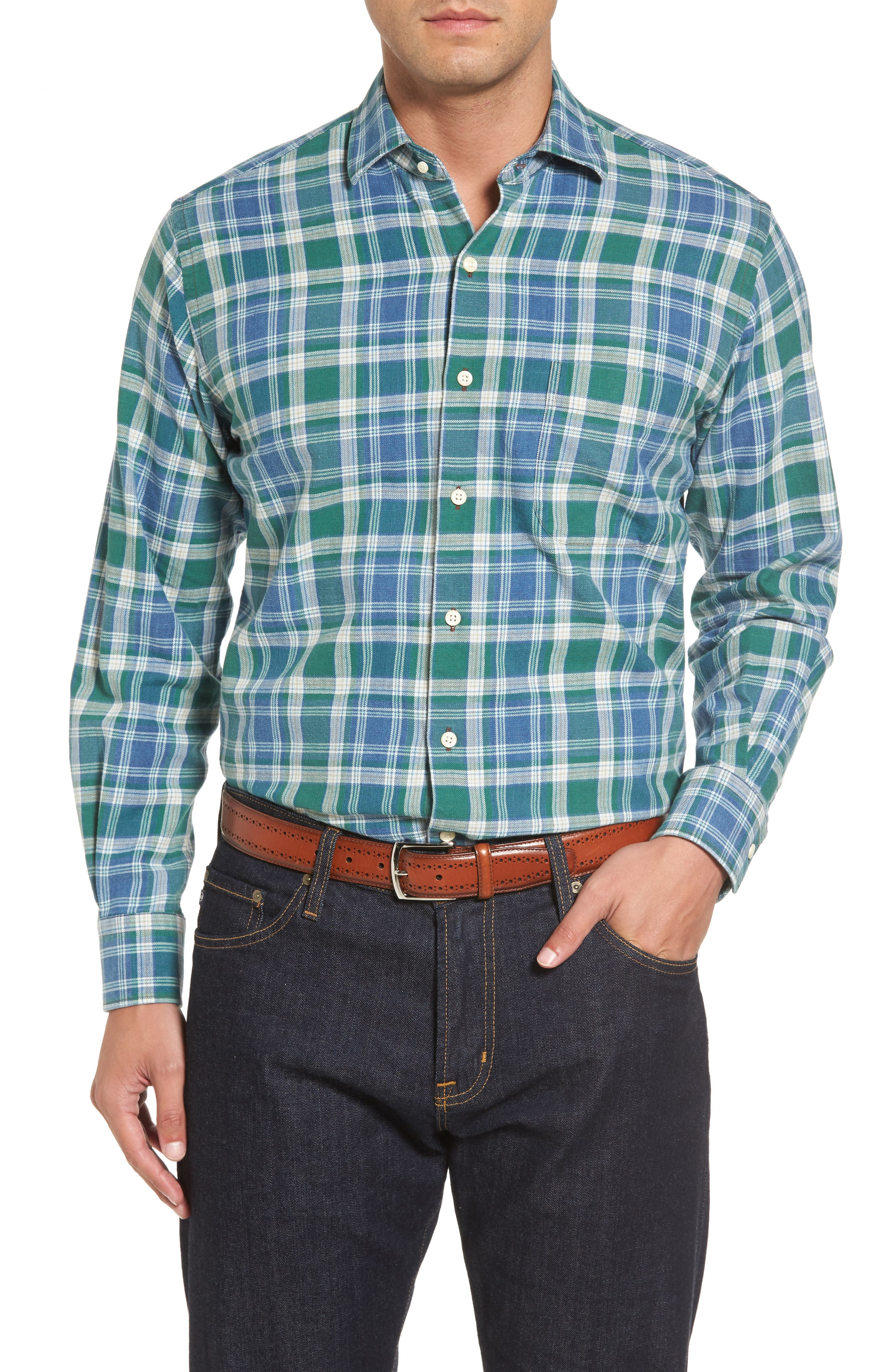 Alternate Image 1 Selected - Peter Millar Rocky Regular Fit Plaid Sport Shirt