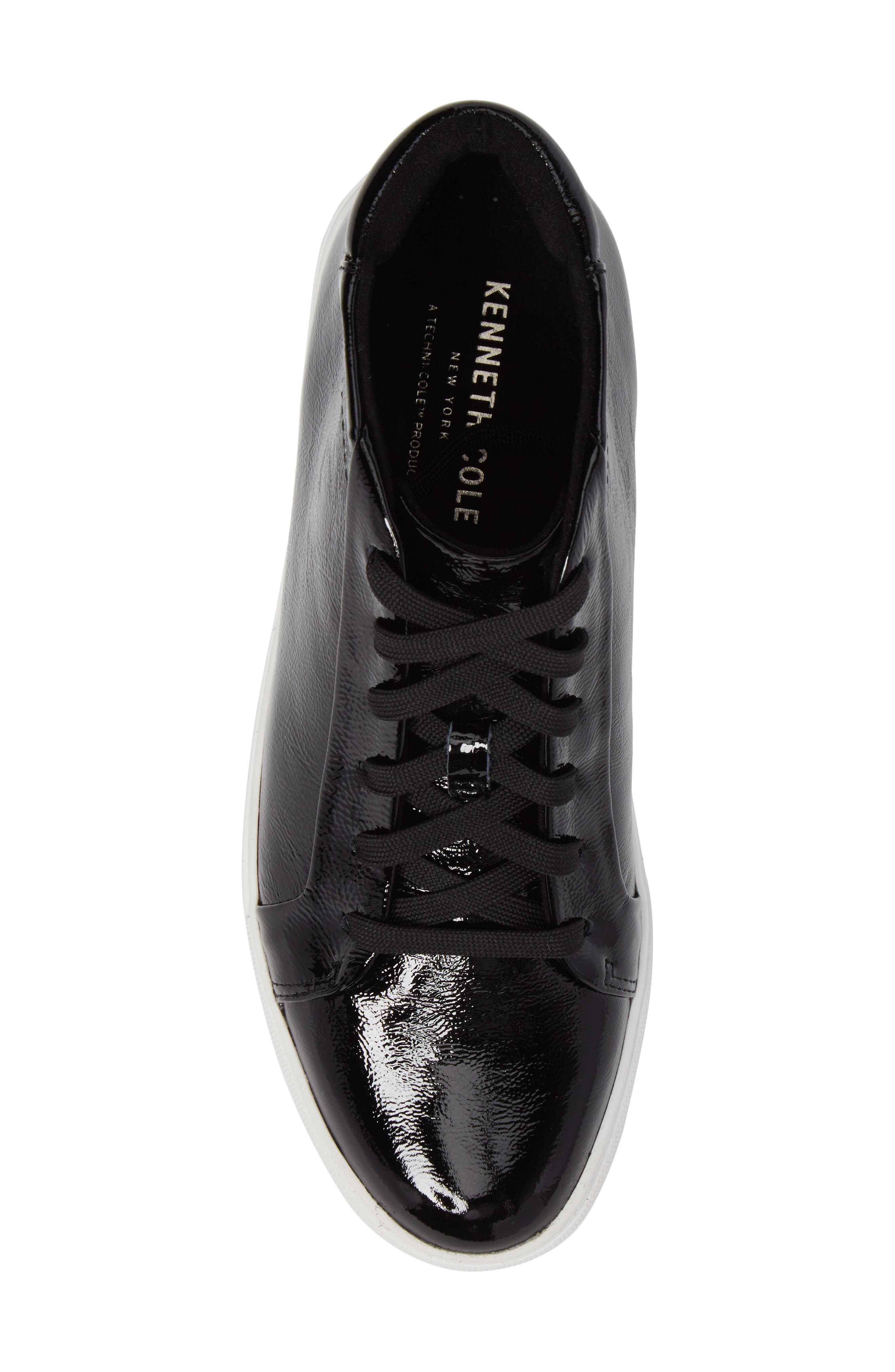 Janette High Top Platform Sneaker,                             Alternate thumbnail 5, color,                             Black Patent Leather