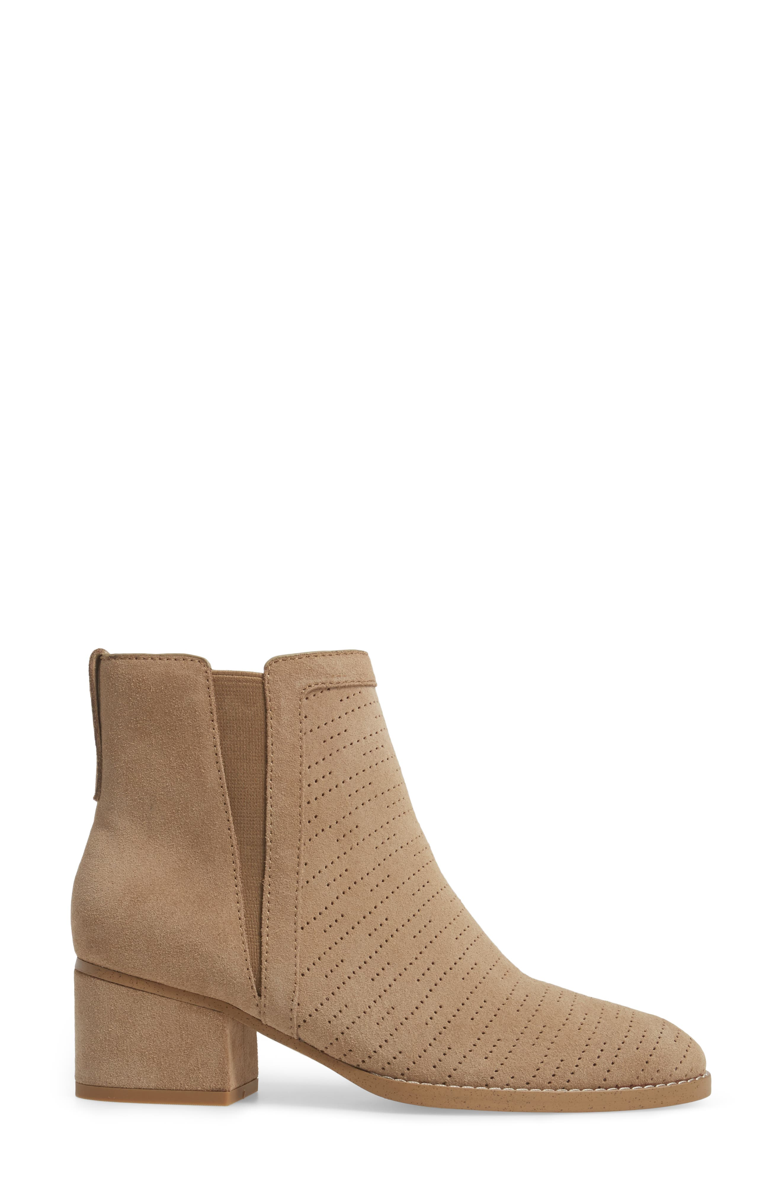 Rosalie Perforated Bootie,                             Alternate thumbnail 6, color,                             Light Taupe Suede