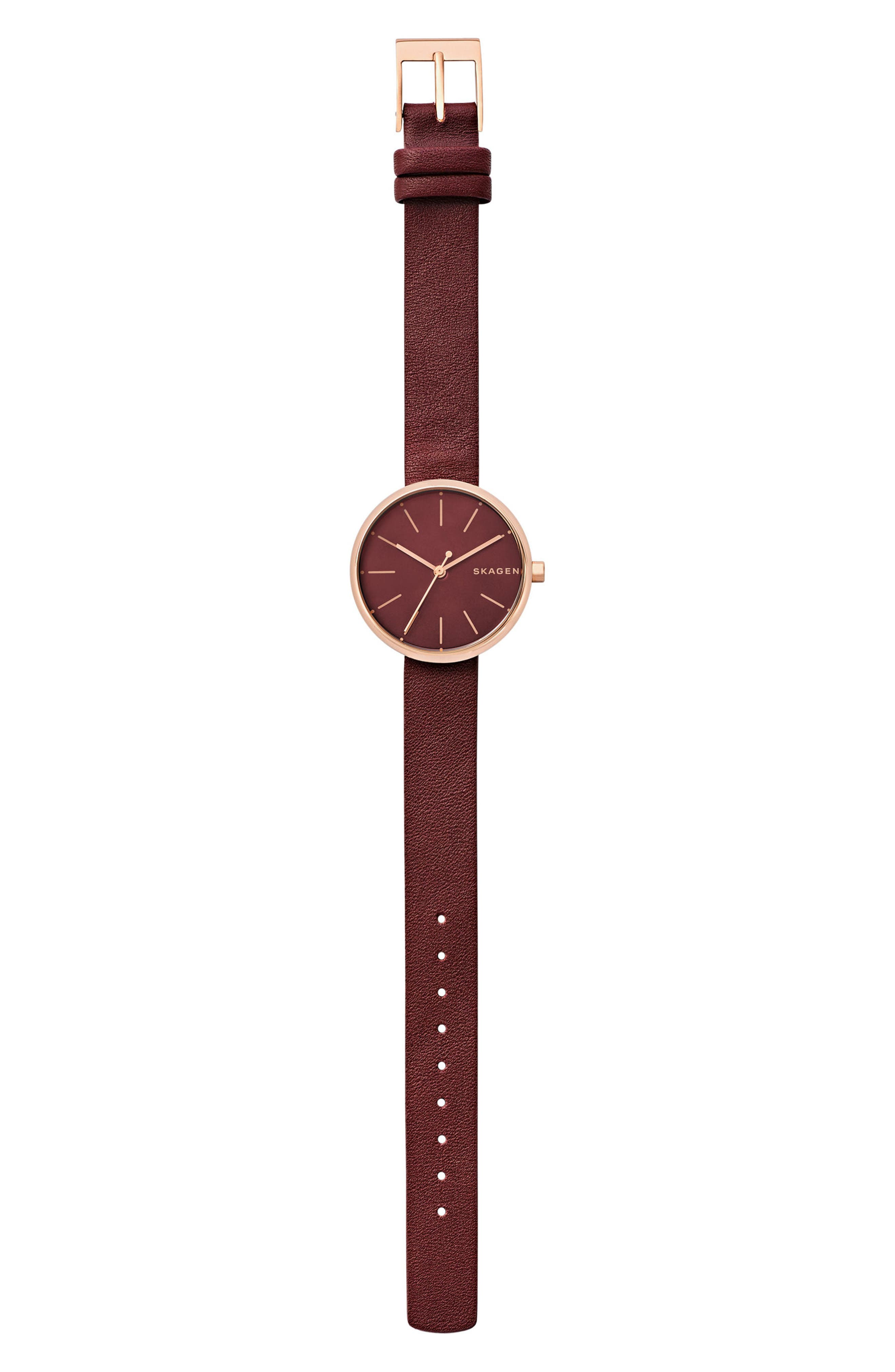 Alternate Image 3  - Skagen Signatur Leather Strap Watch, 30mm