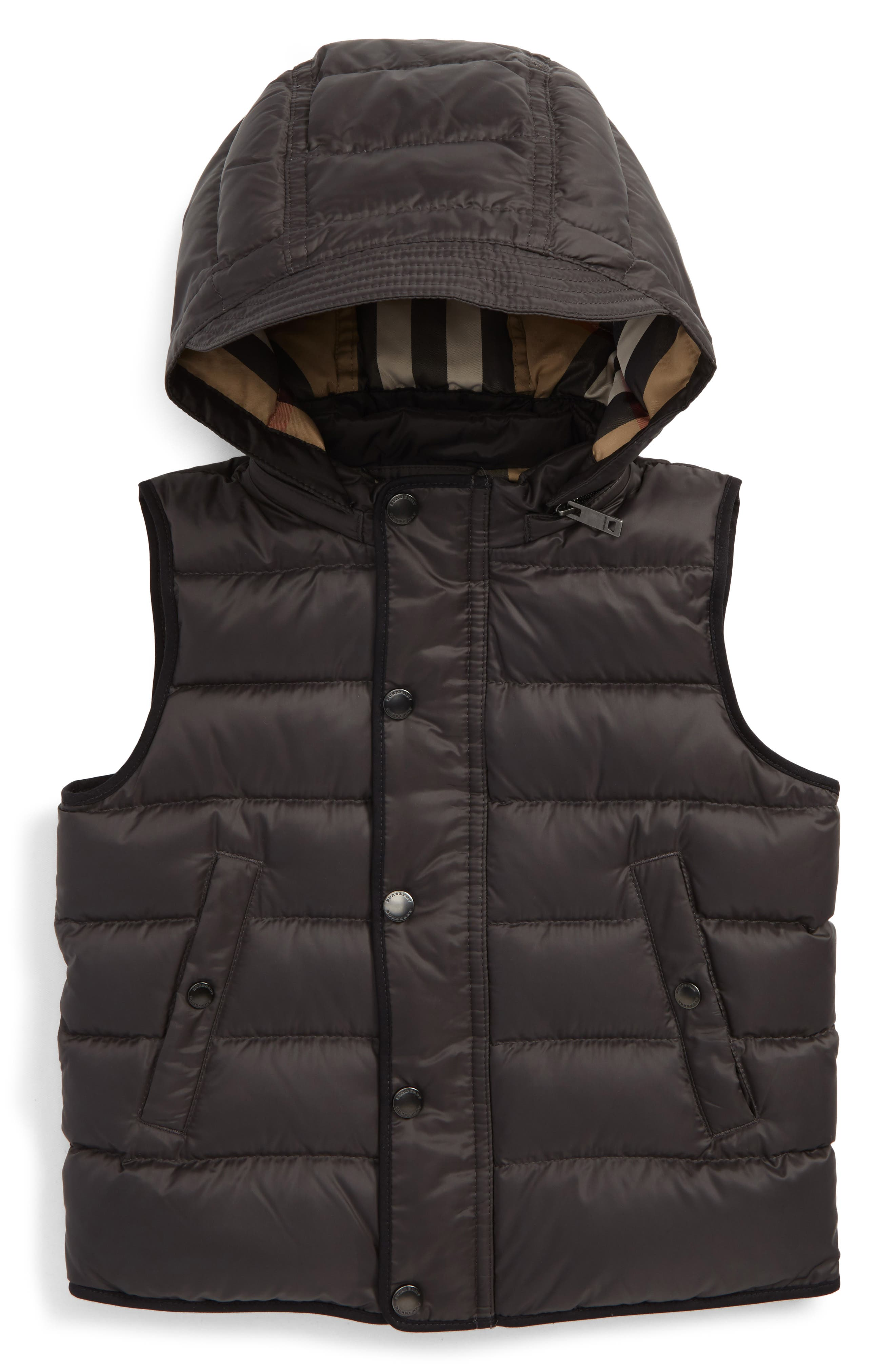 Mini Carlton Quilted Down Vest,                             Main thumbnail 1, color,                             Charcoal