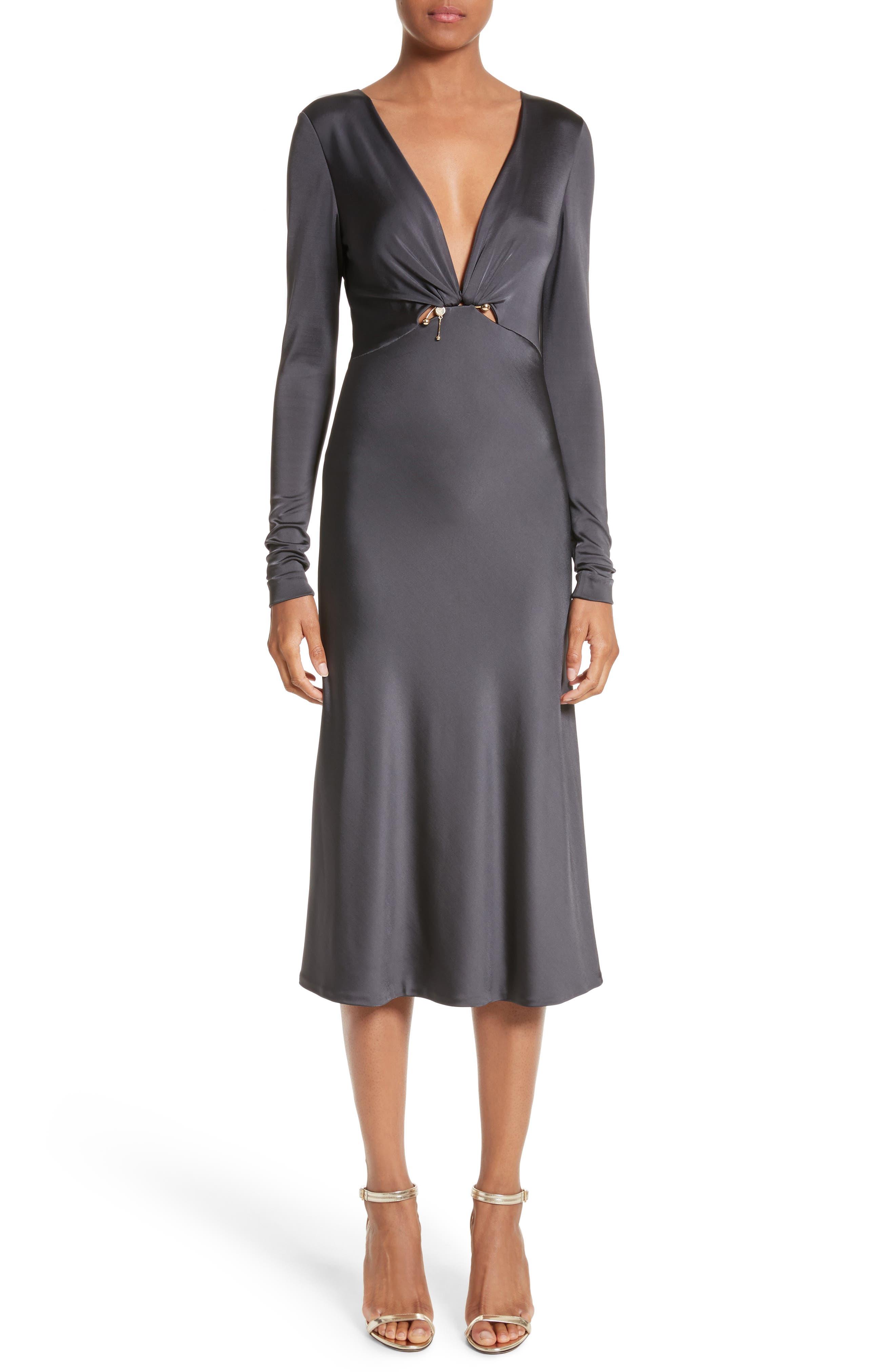 Magdelena Ring Detail Jersey Dress,                             Main thumbnail 1, color,                             Graphite/ Gold