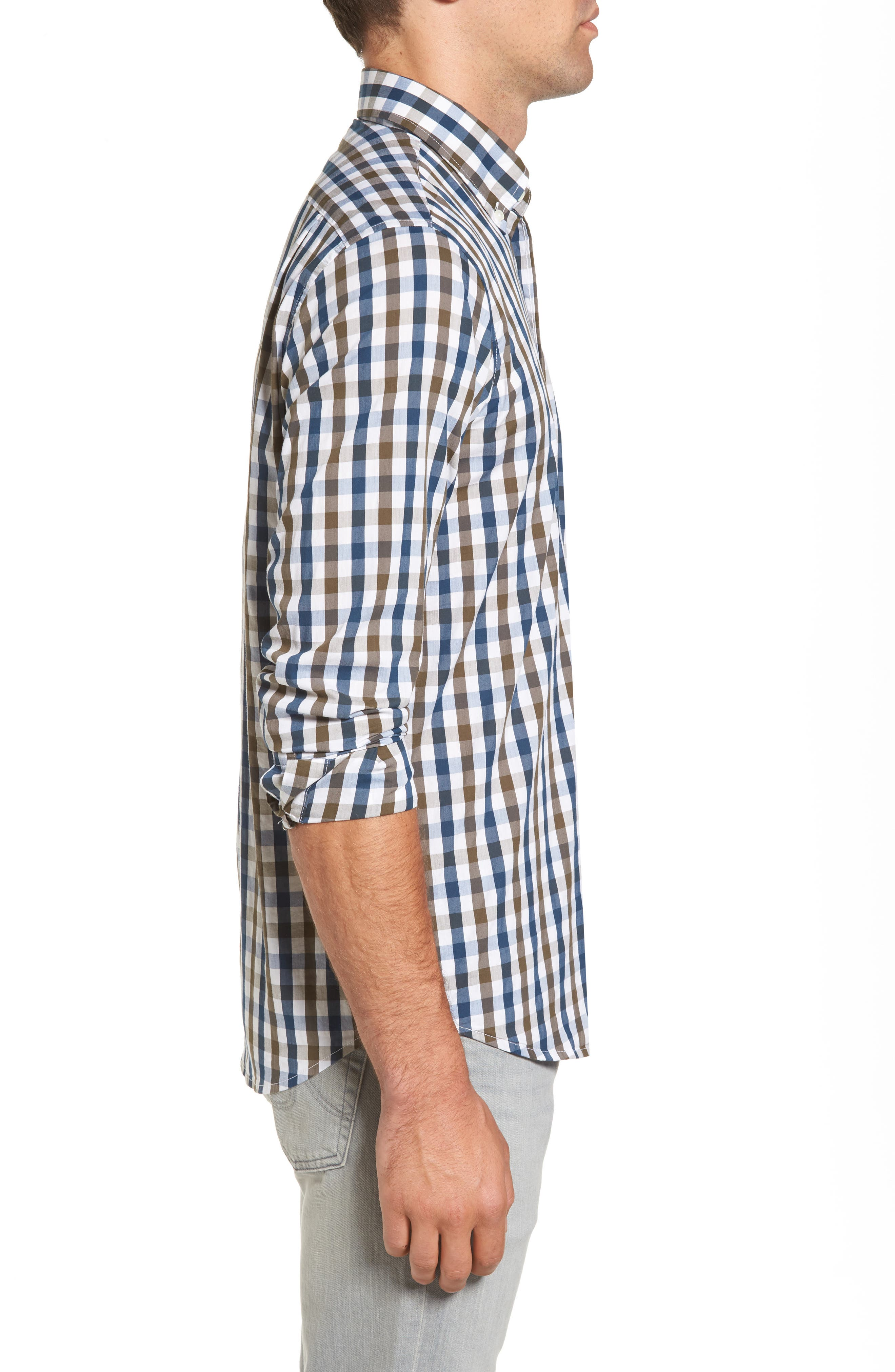 Regular Fit Performance Sport Shirt,                             Alternate thumbnail 3, color,                             Teal/ Army Tricolor Gingham