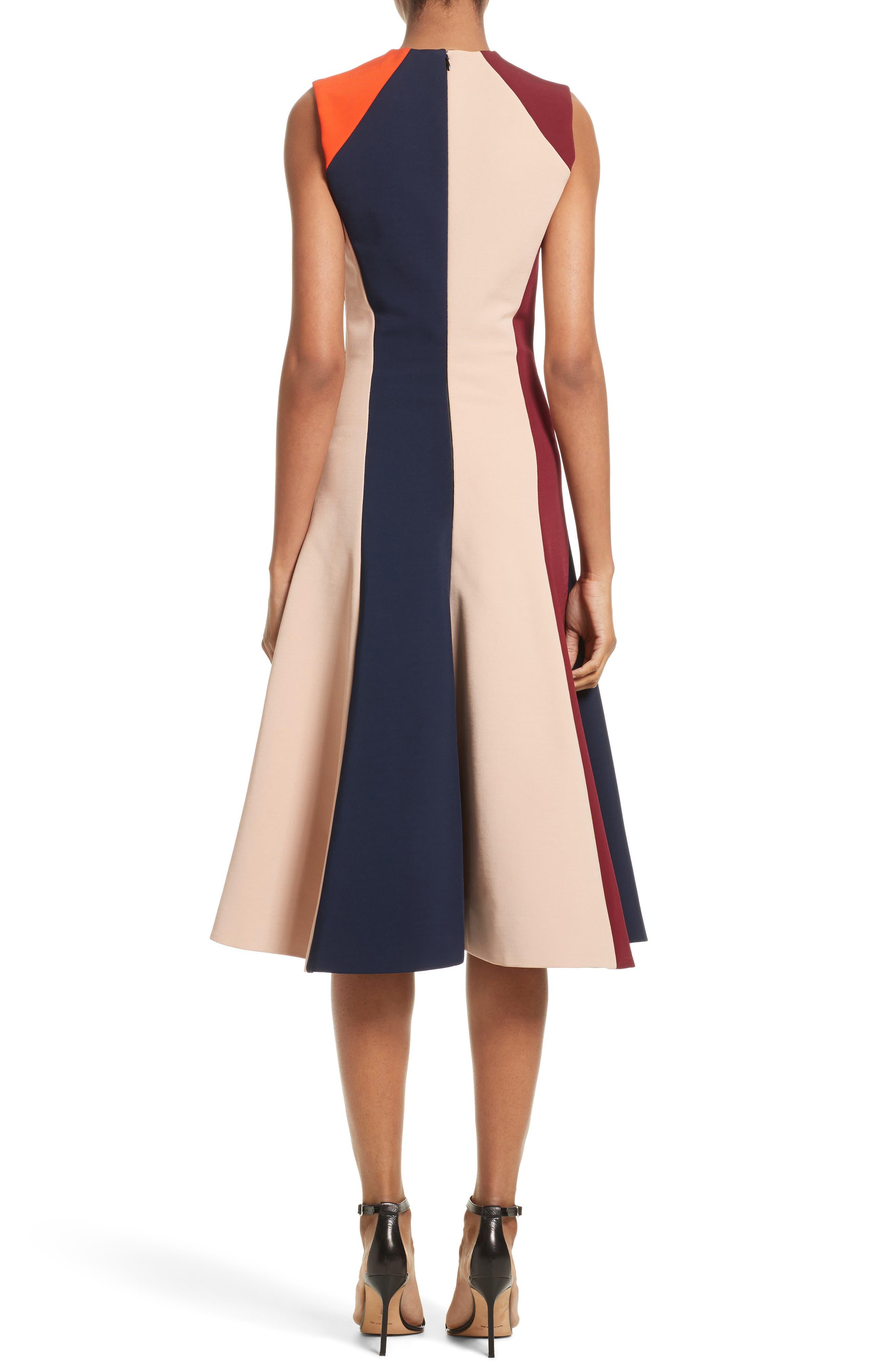 Stripe Flare Dress,                             Alternate thumbnail 3, color,                             Multi