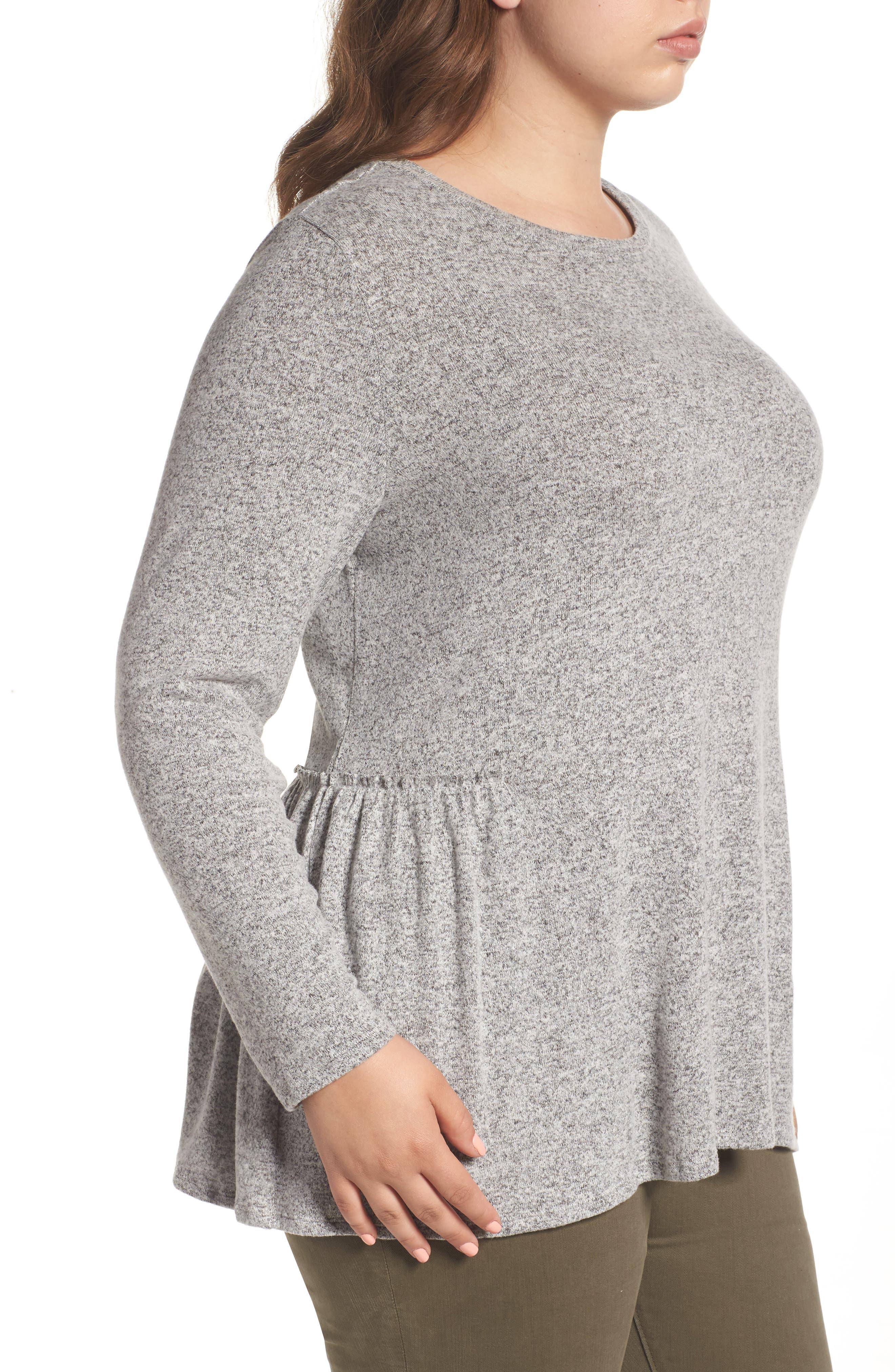 Alternate Image 4  - Caslon® Cozy Back Peplum Top (Plus Size)