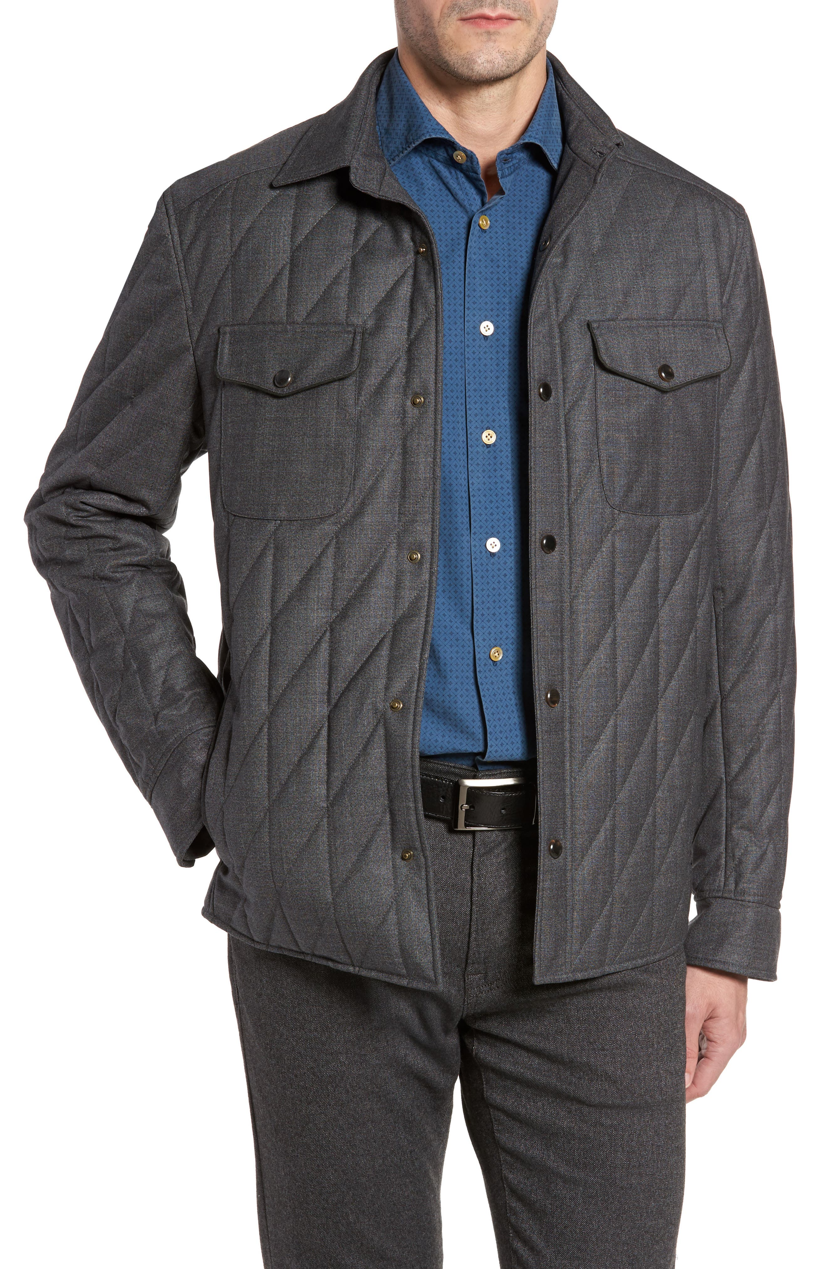 Classic Fit Quilted Wool Blend Shirt Jacket,                         Main,                         color, Medium Grey