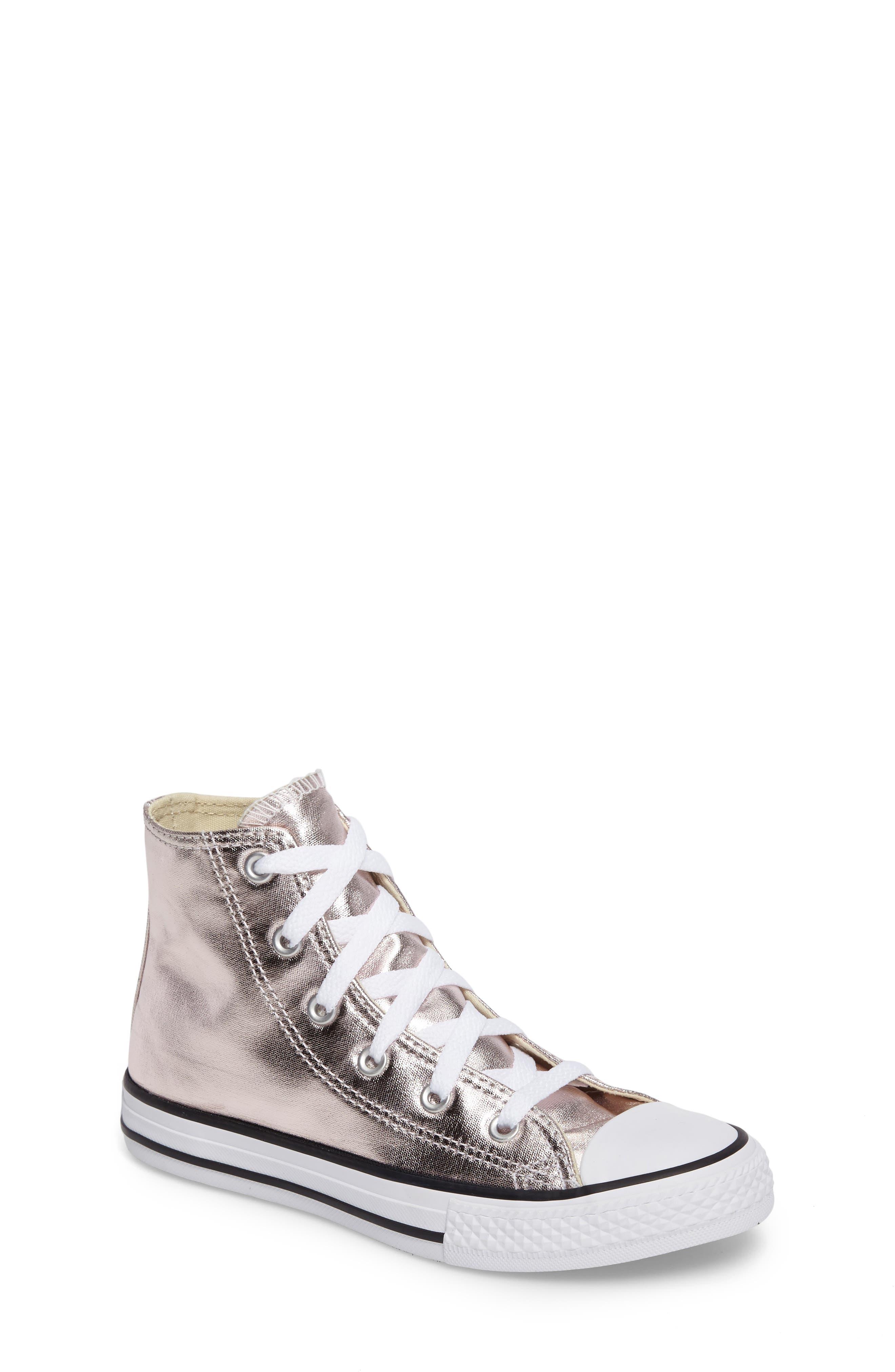 Chuck Taylor<sup>®</sup> All Star<sup>®</sup> Seasonal Metallic High Top Sneaker,                             Main thumbnail 1, color,                             Rose Quartz/ White Canvas